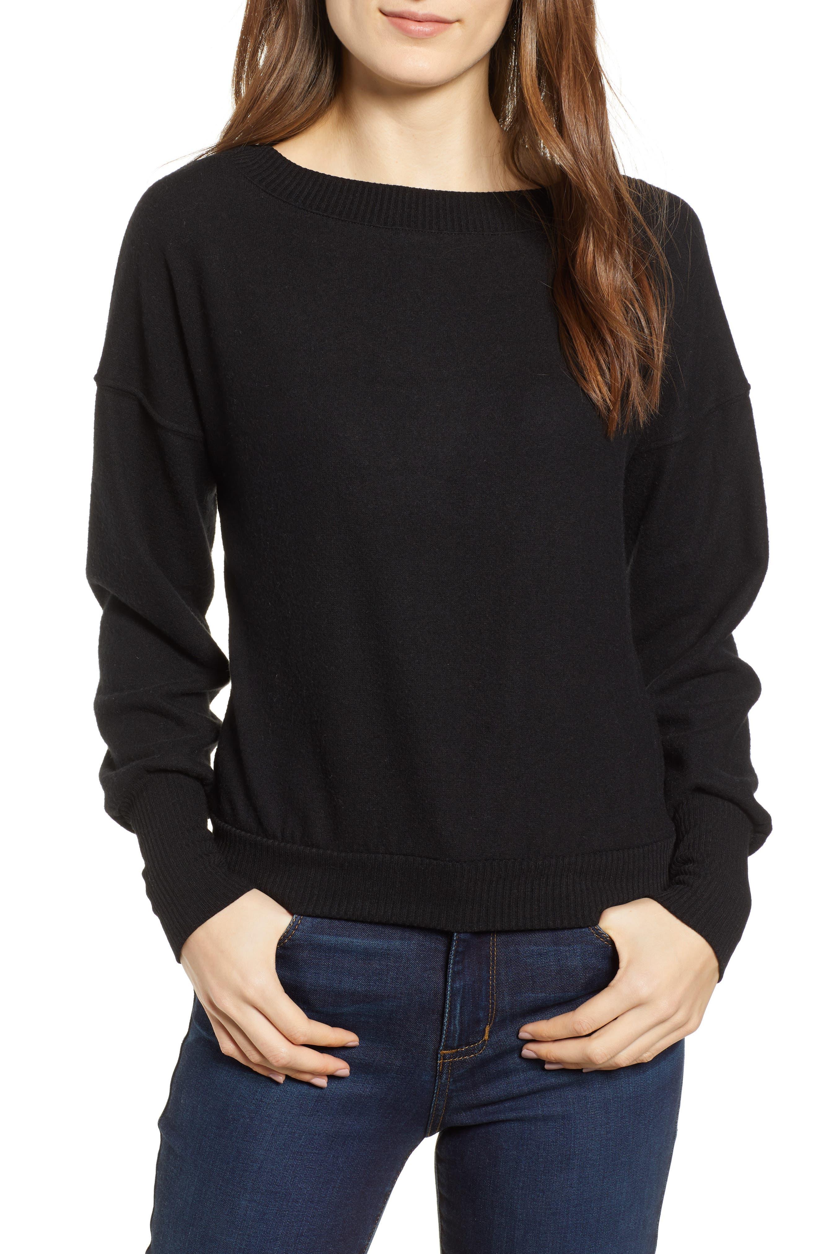 Darwin Cozy Sweatshirt,                             Main thumbnail 1, color,                             BLACK