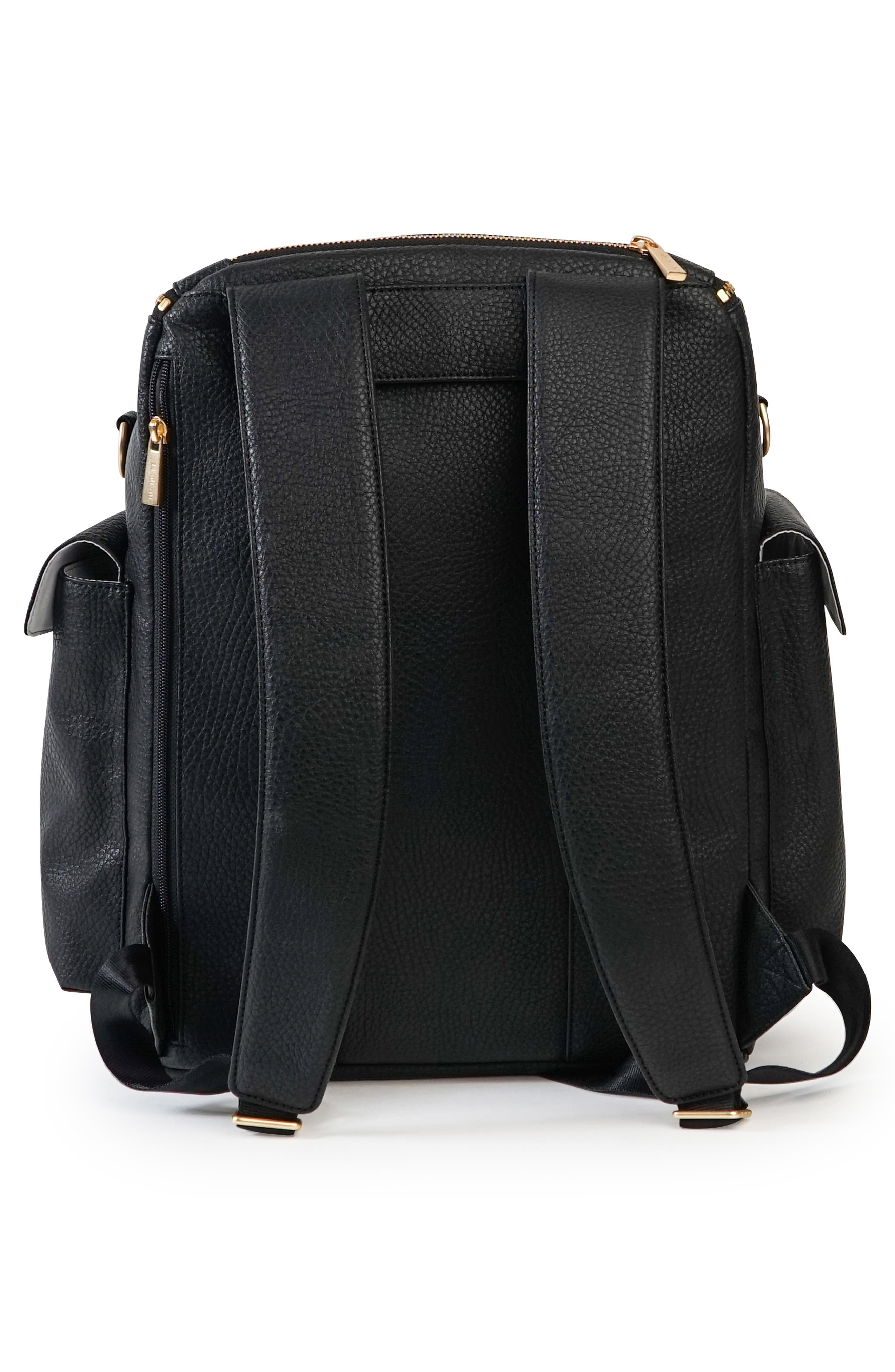 Ever Collection Forever Faux Leather Diaper Backpack,                             Alternate thumbnail 2, color,                             NOIR