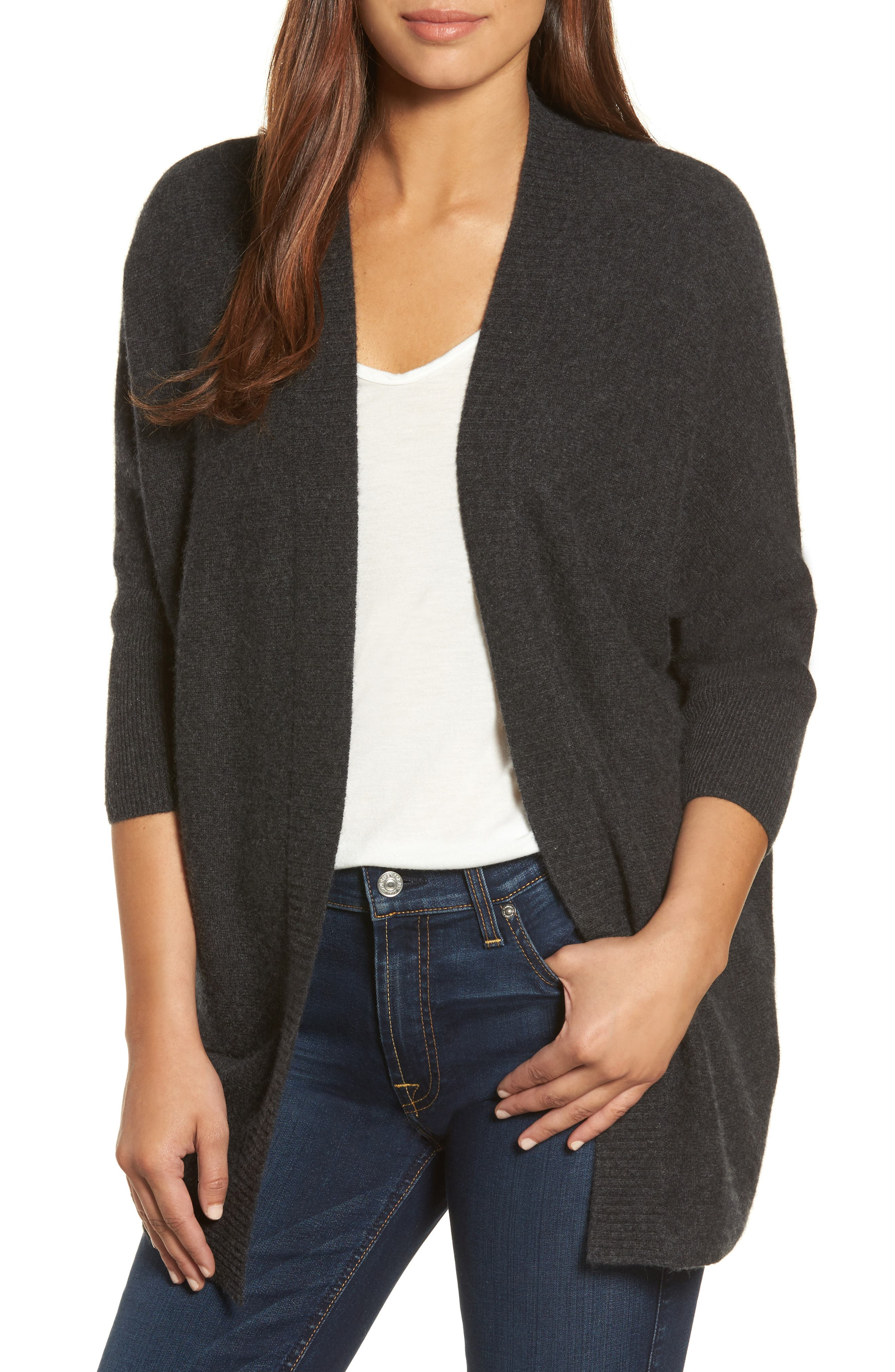 Three-Quarter Sleeve Cashmere Cardigan,                             Main thumbnail 2, color,