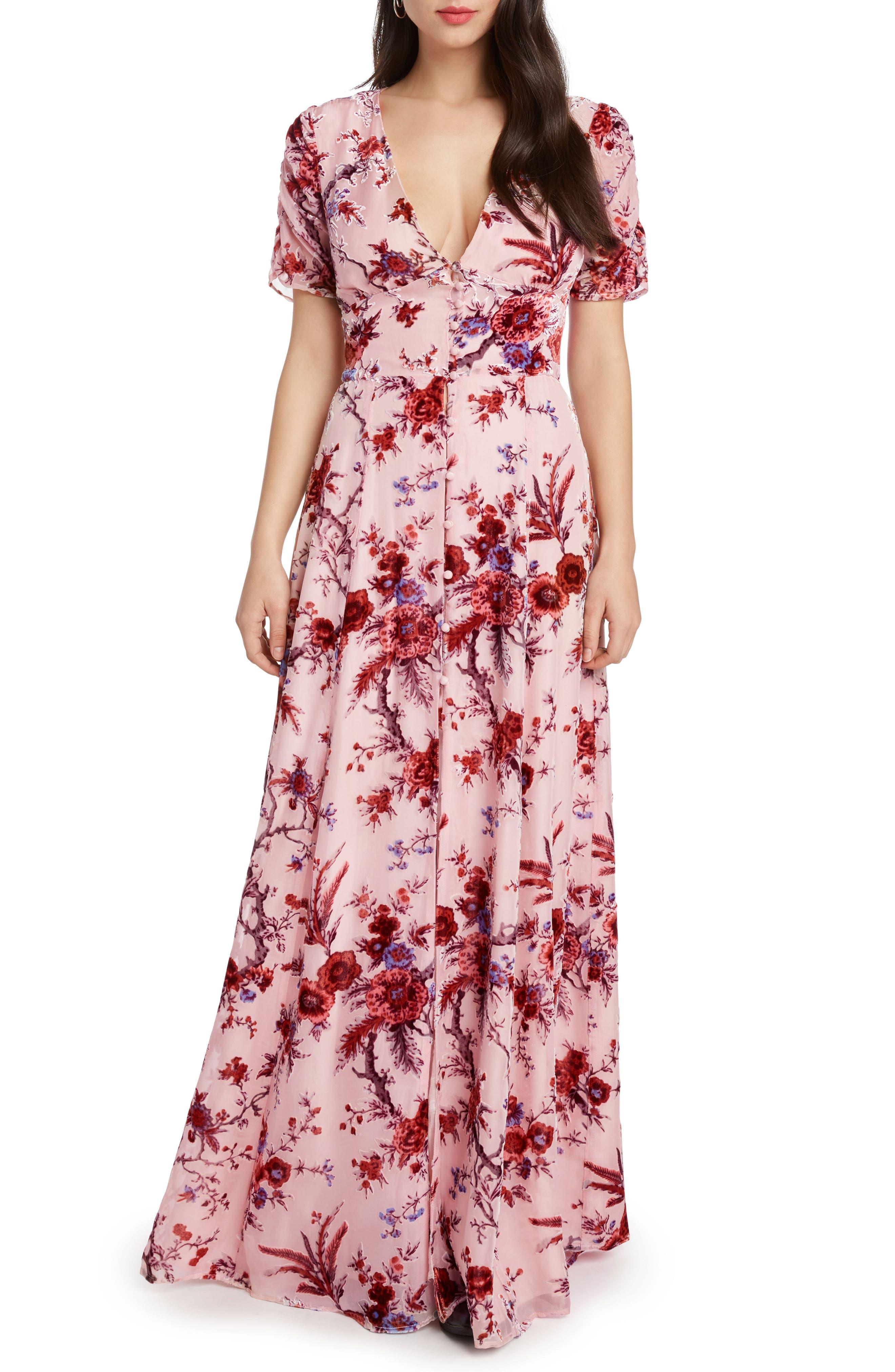Floral Burnout Maxi Dress,                             Main thumbnail 1, color,                             ROSE