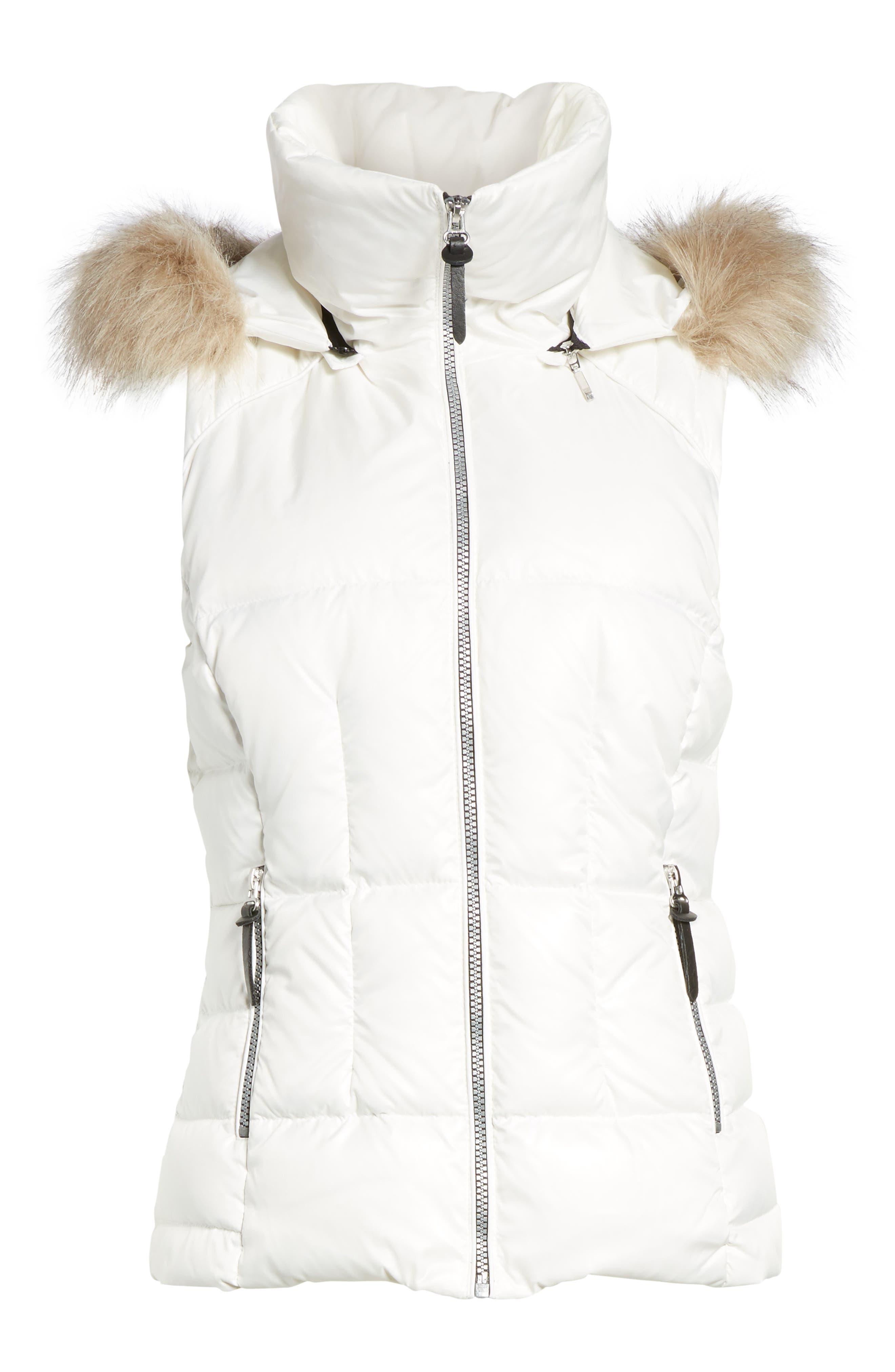 Lanie Puffer Vest with Faux Fur,                             Alternate thumbnail 5, color,                             100