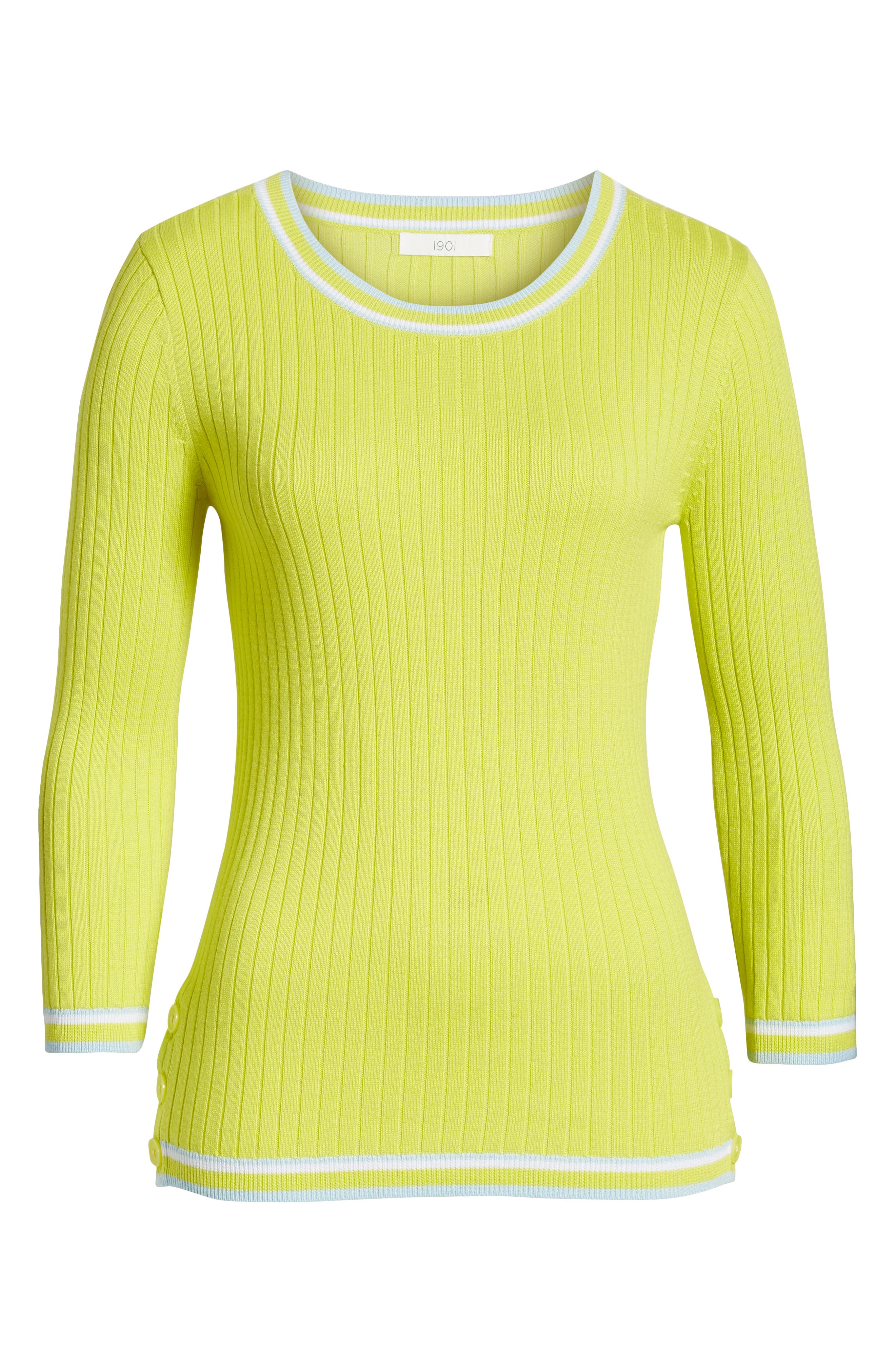 Tipped Cotton Blend Ribbed Sweater,                             Alternate thumbnail 6, color,                             330