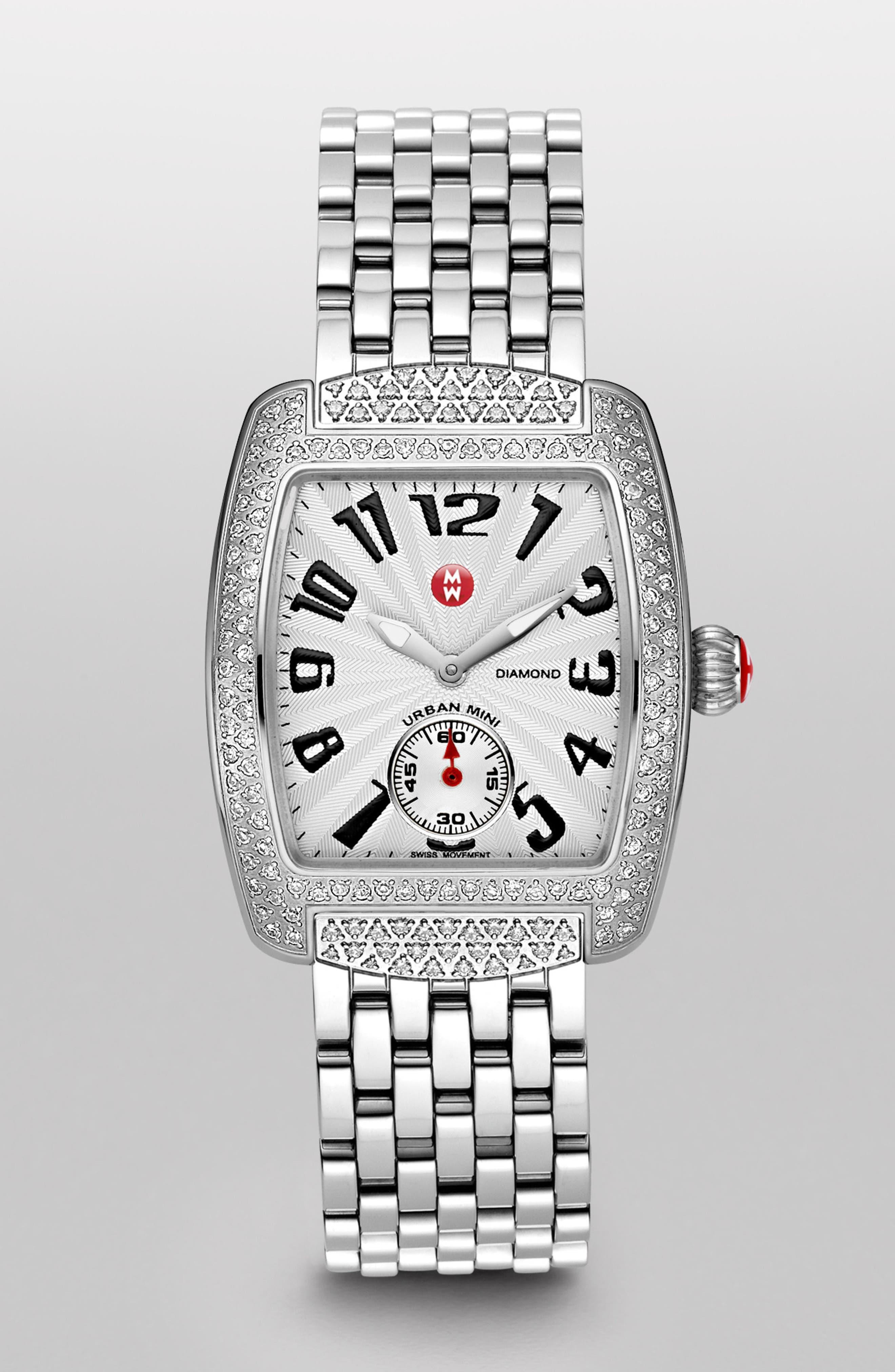 'Urban Mini Diamond' 16mm Bracelet Watchband,                             Alternate thumbnail 3, color,                             SILVER / DIAMOND