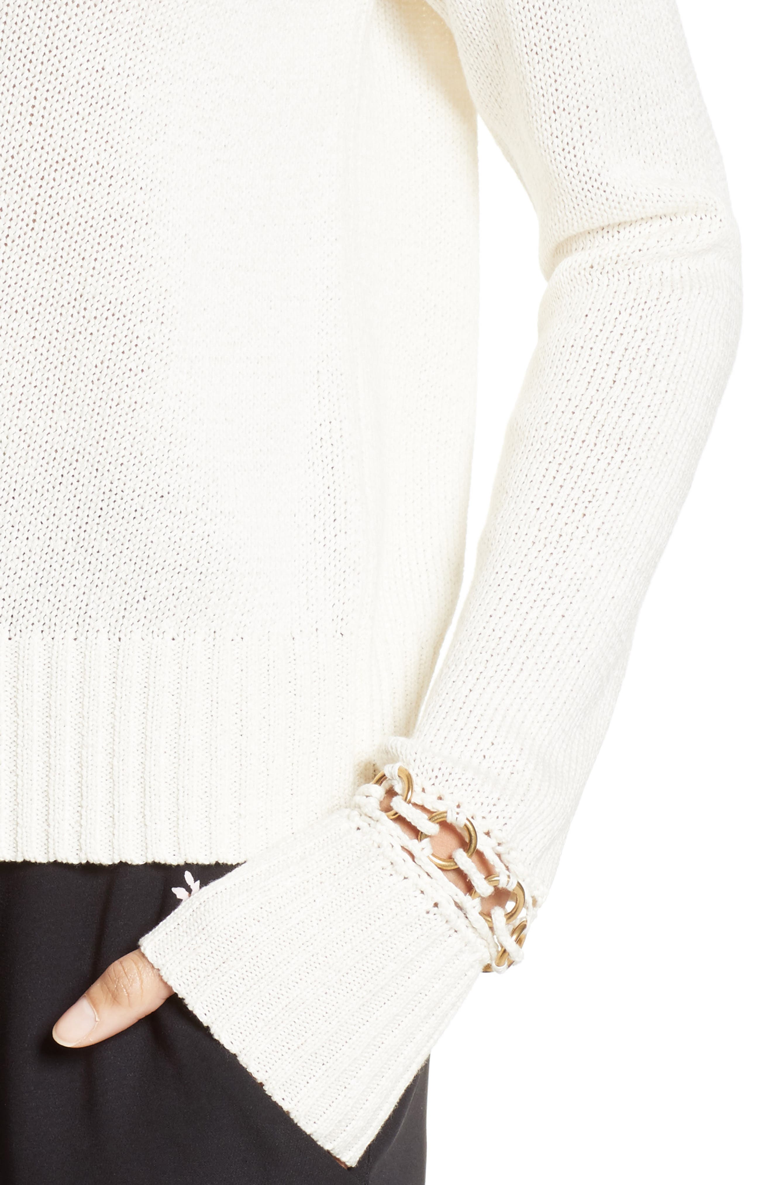 Dree Embellished Cuff Cotton Sweater,                             Alternate thumbnail 4, color,                             101