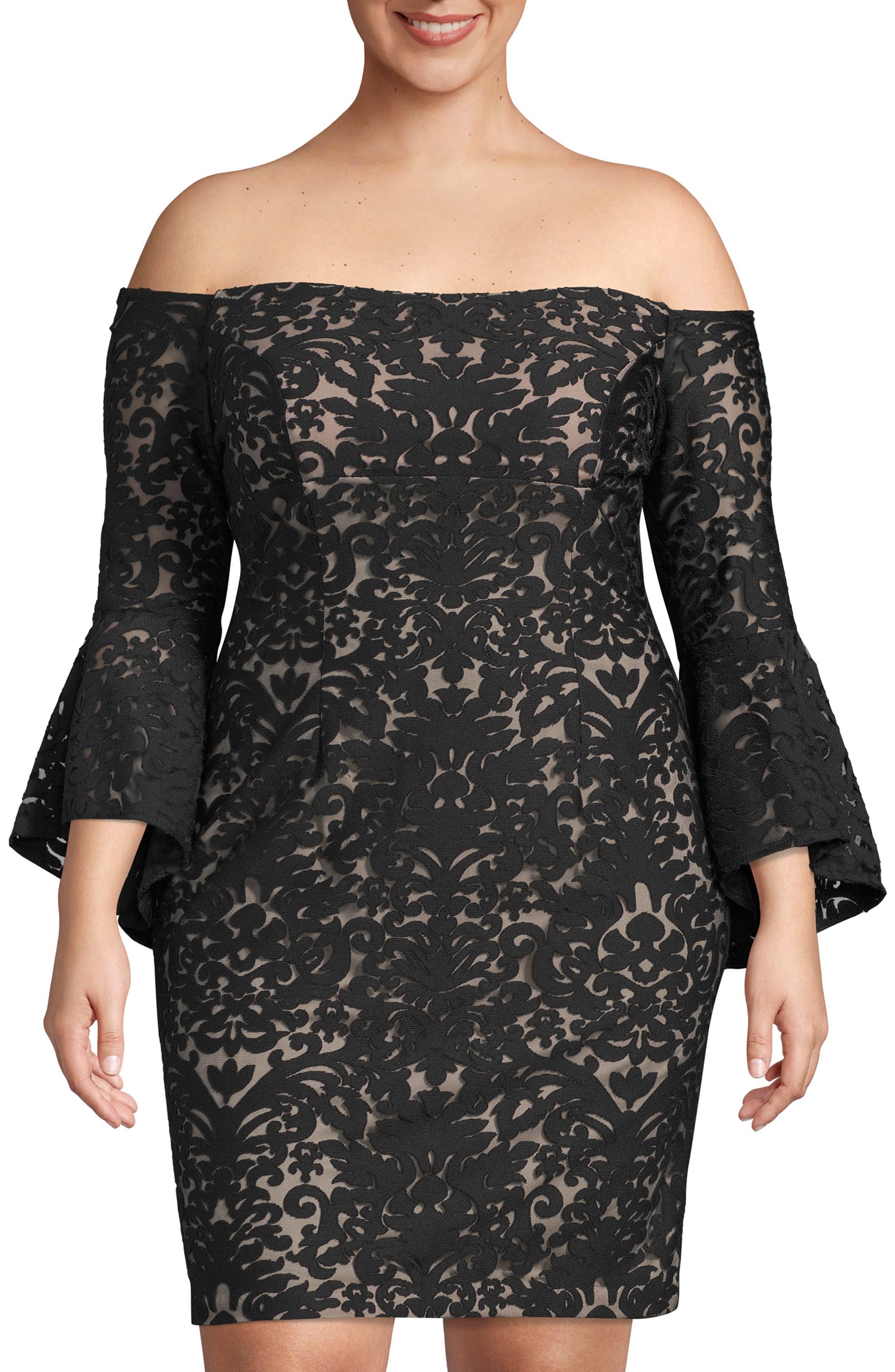 Plus Size Xscape Bell Sleeve Off The Shoulder Burnout Lace Dress, Black