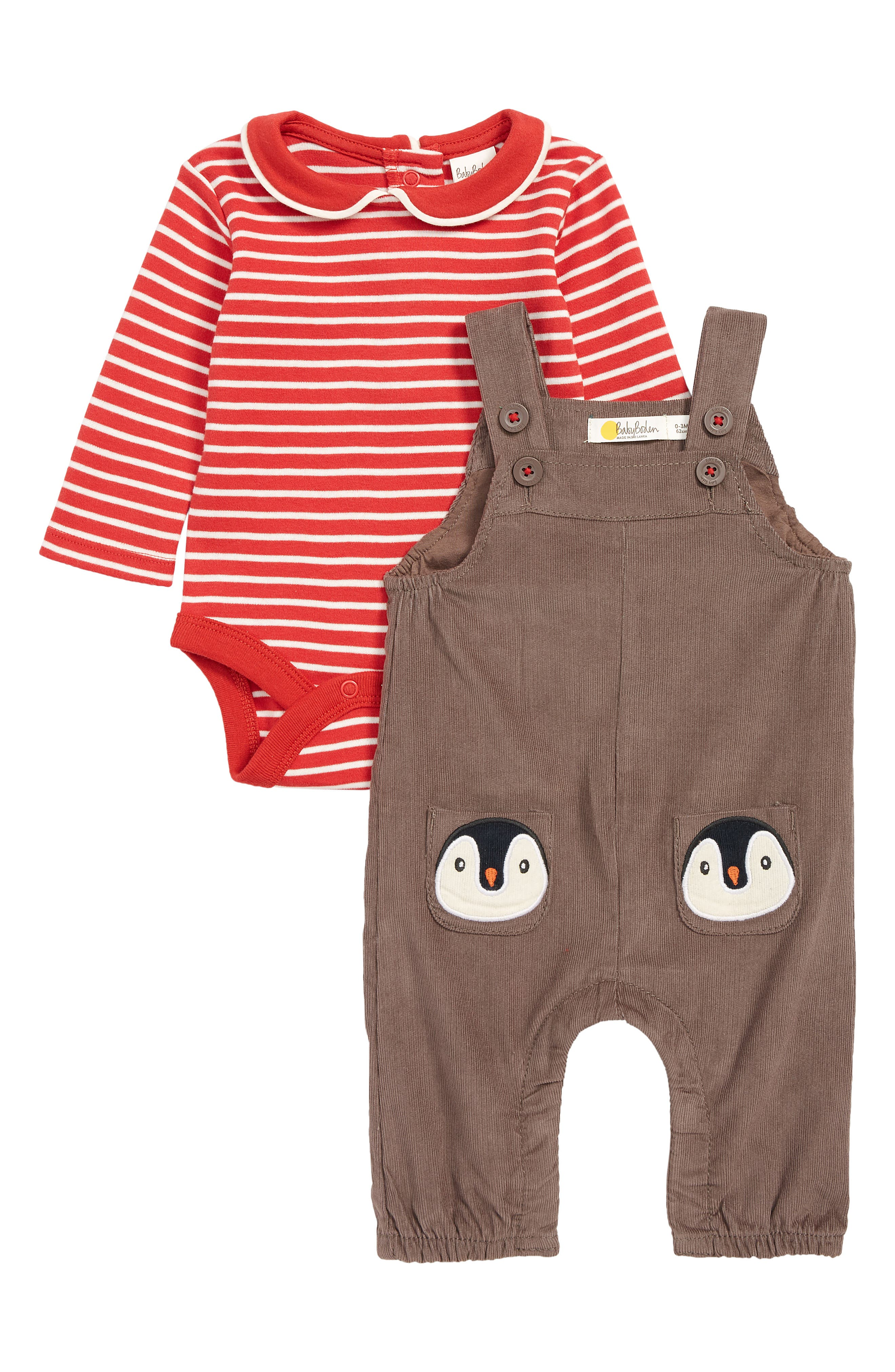 Infant Boys Mini Boden Pocket Pet Corduroy Overalls  Bodysuit Set