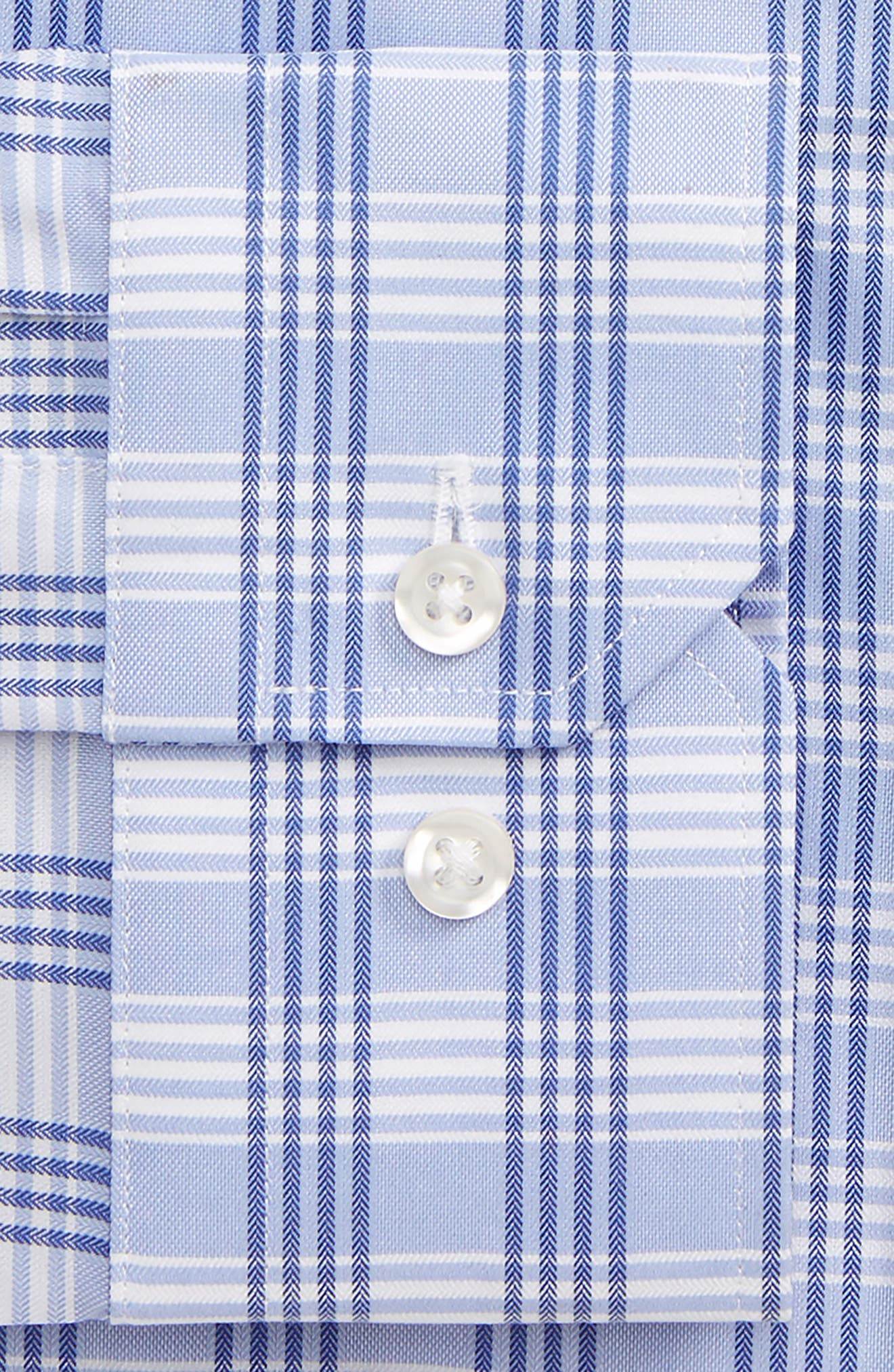 Trim Fit No-Iron Check Dress Shirt,                             Alternate thumbnail 2, color,