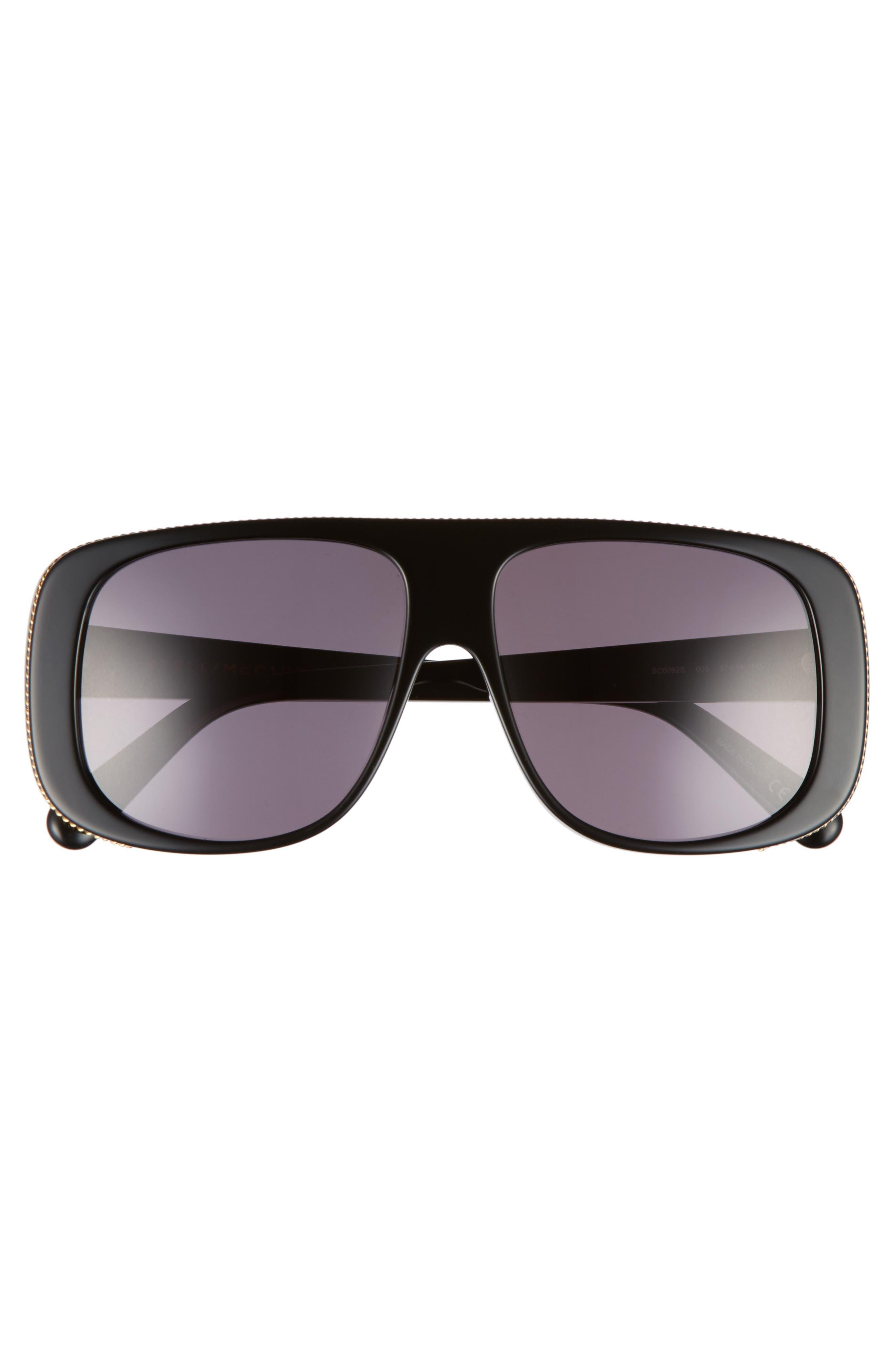 57mm Flat Top Sunglasses,                             Alternate thumbnail 3, color,                             BLACK/ GREY