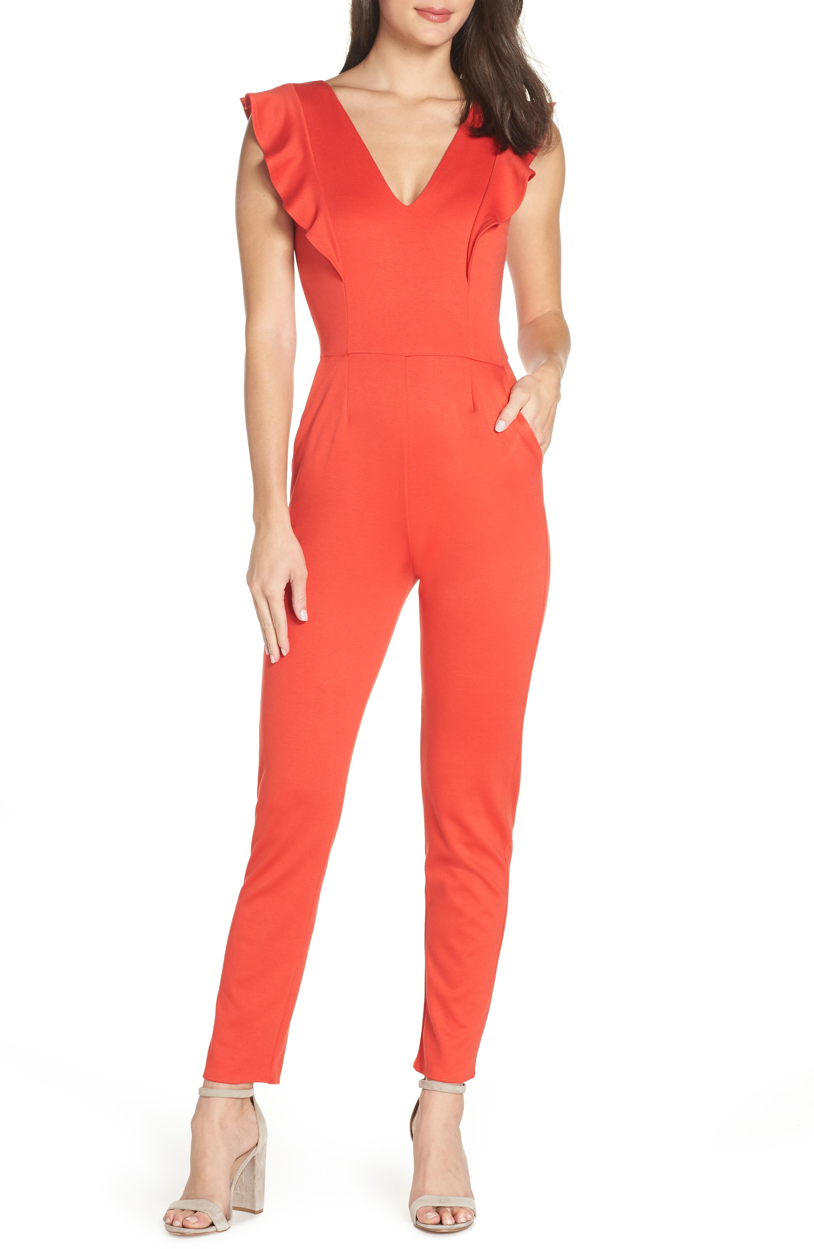 FRAICHE BY J,                             V-Neck Ruffle Jumpsuit,                             Main thumbnail 1, color,                             RED