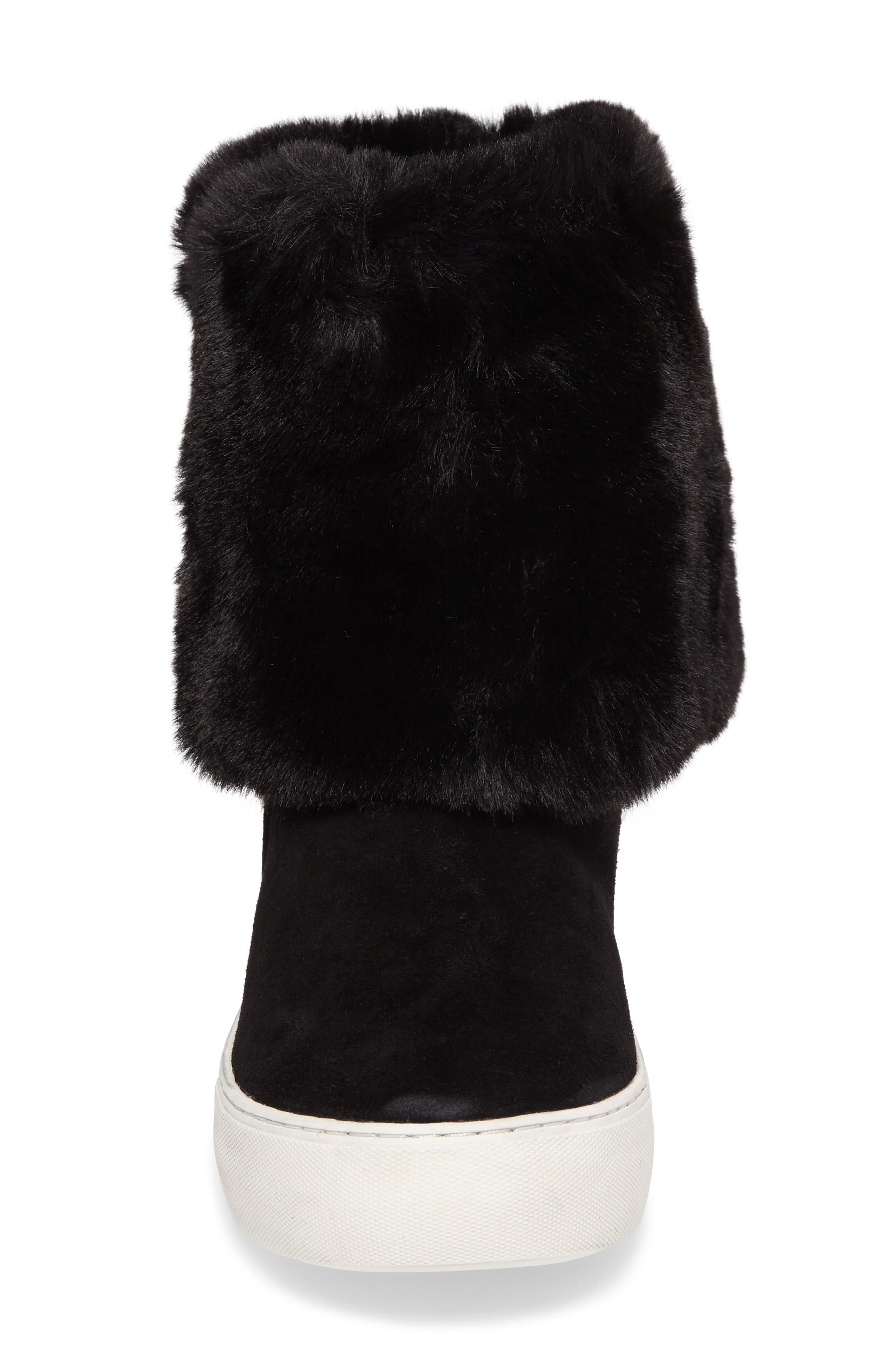 Apple Faux Shearling Boot,                             Alternate thumbnail 5, color,                             BLACK SUEDE