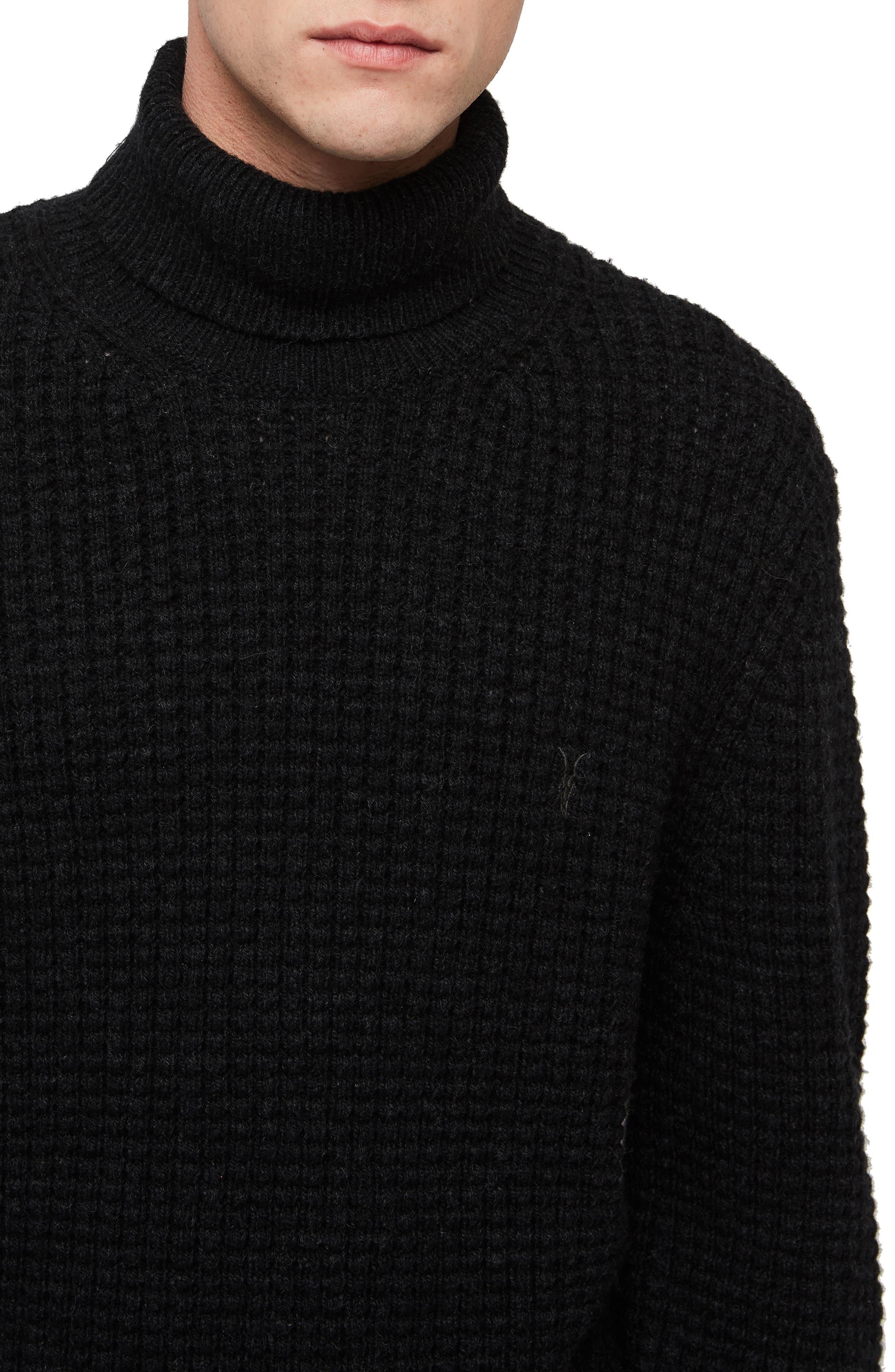 Mast Slim Fit Funnel Neck Sweater,                             Alternate thumbnail 3, color,                             CINDER BLACK MARL