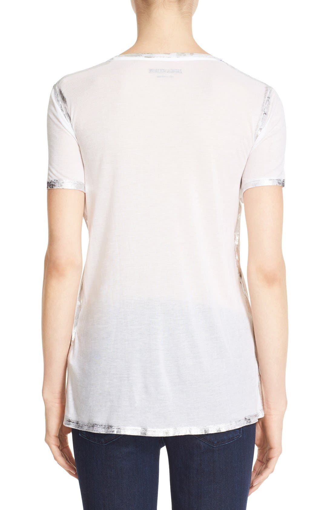 ZADIG & VOLTAIRE,                             'Tino' Foil Accent Tee,                             Alternate thumbnail 4, color,                             116