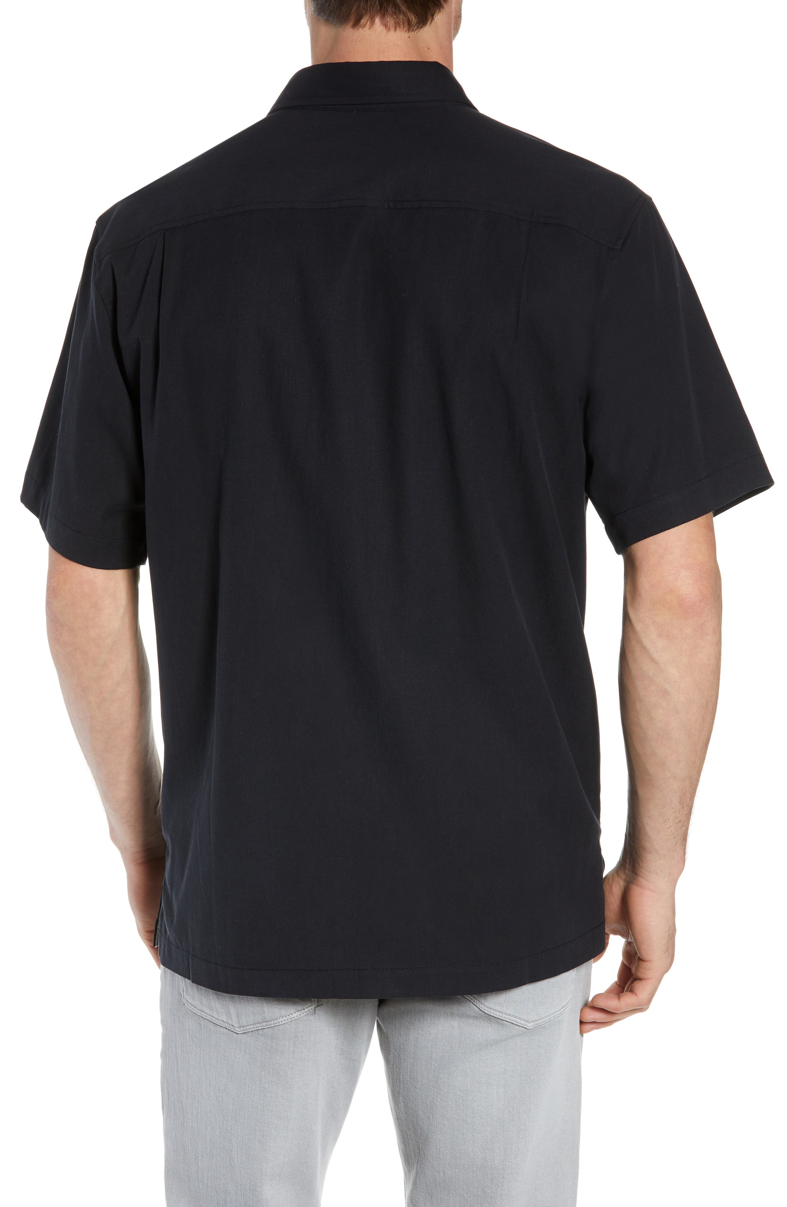 Catalina Stretch Silk Blend Camp Shirt,                             Alternate thumbnail 3, color,                             BLACK