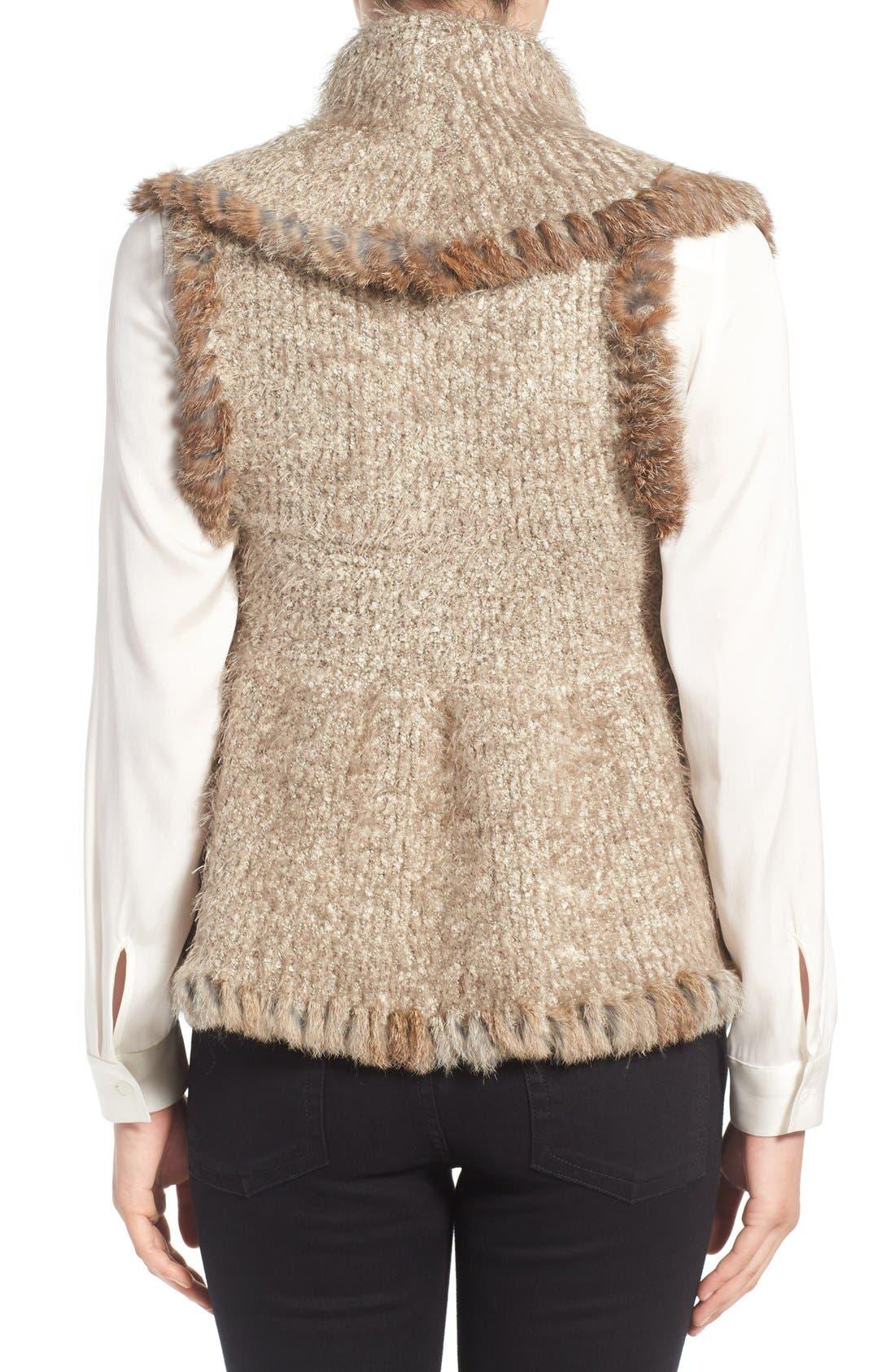 Knit Vest with Genuine Rabbit Fur Trim,                             Alternate thumbnail 8, color,