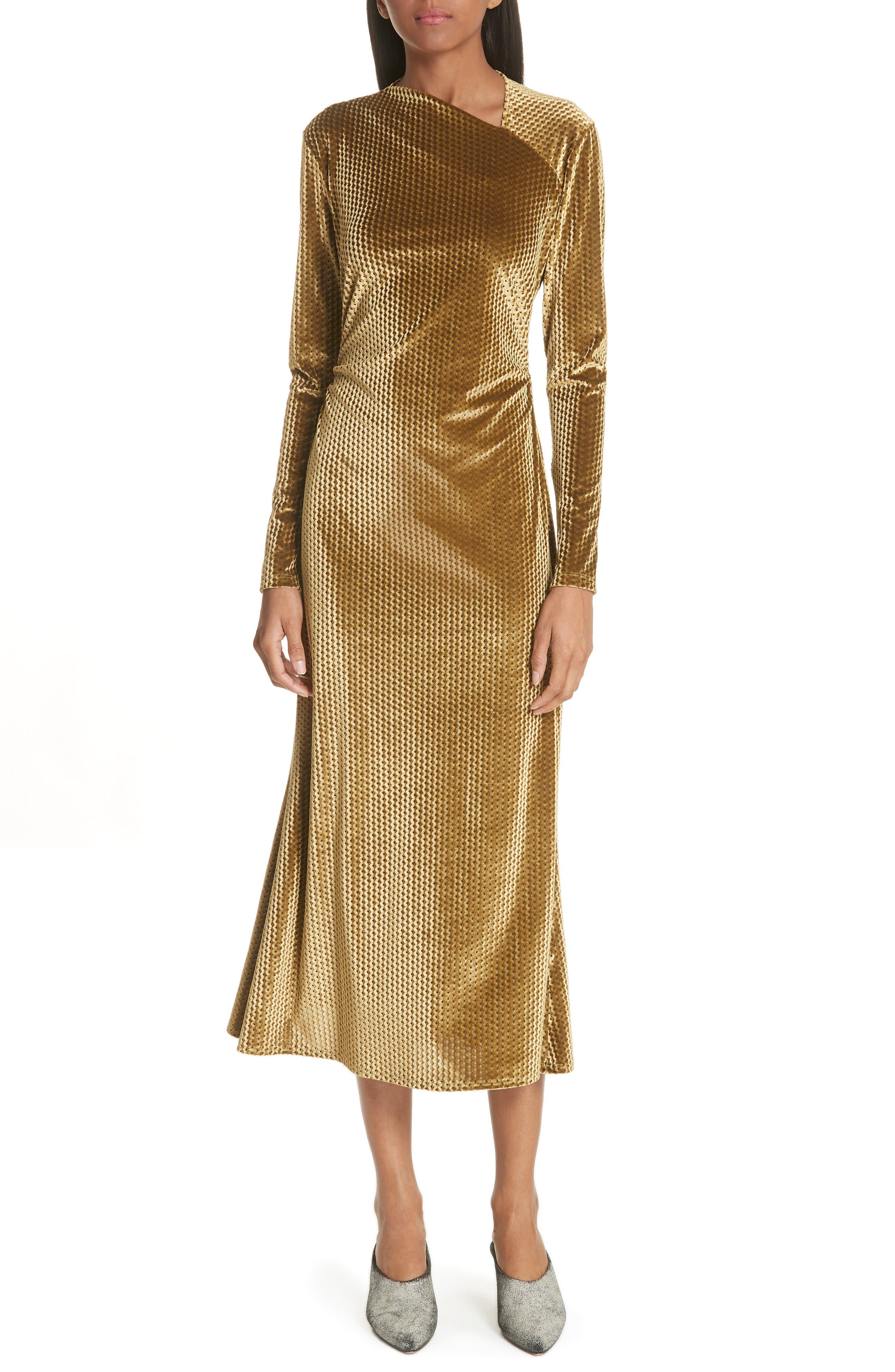 Ruched Velvet Jacquard Midi Dress,                         Main,                         color, GOLD