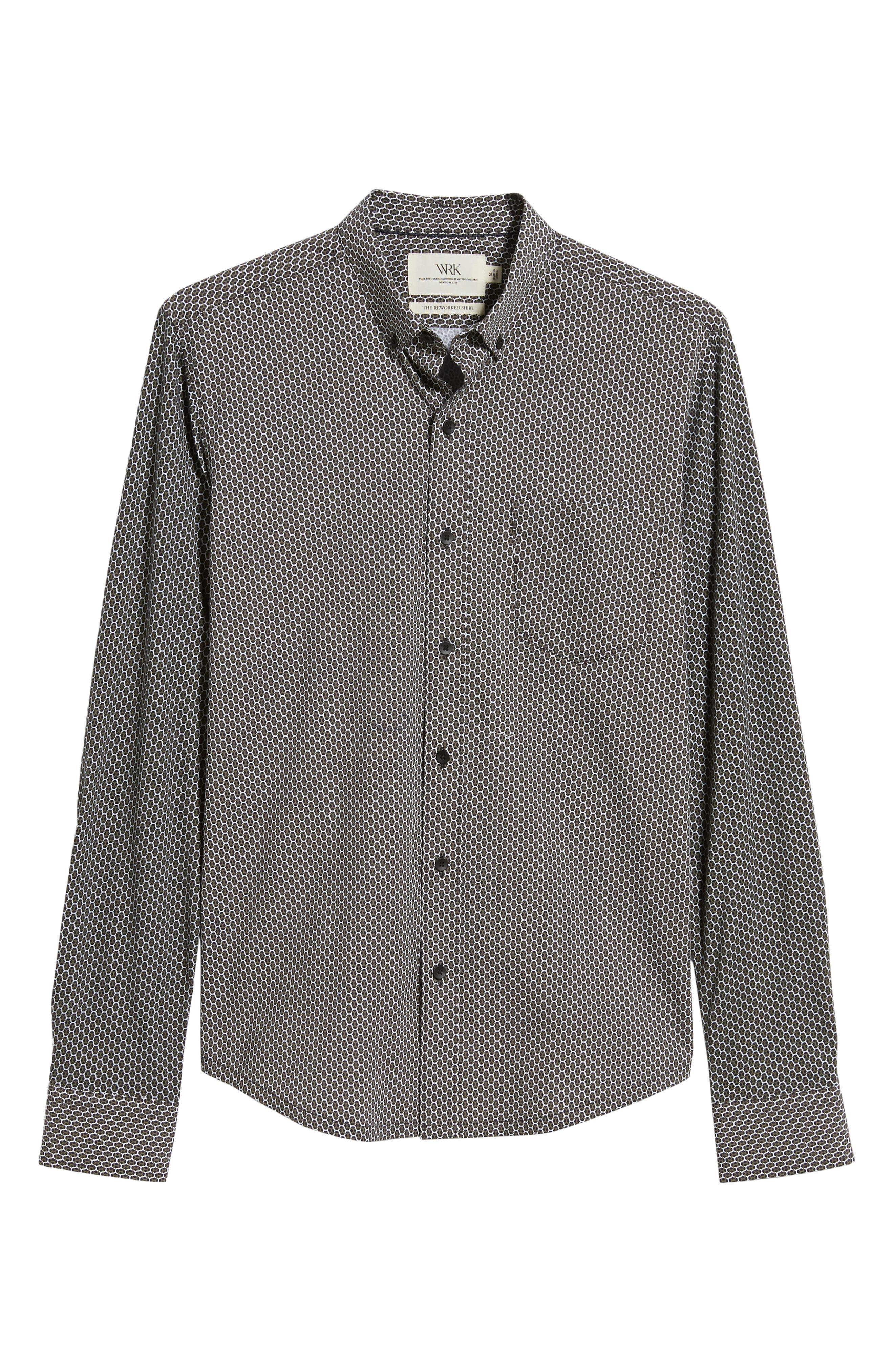 Reworked Slim Fit Print Sport Shirt,                             Alternate thumbnail 5, color,                             BLACK/ GREEN