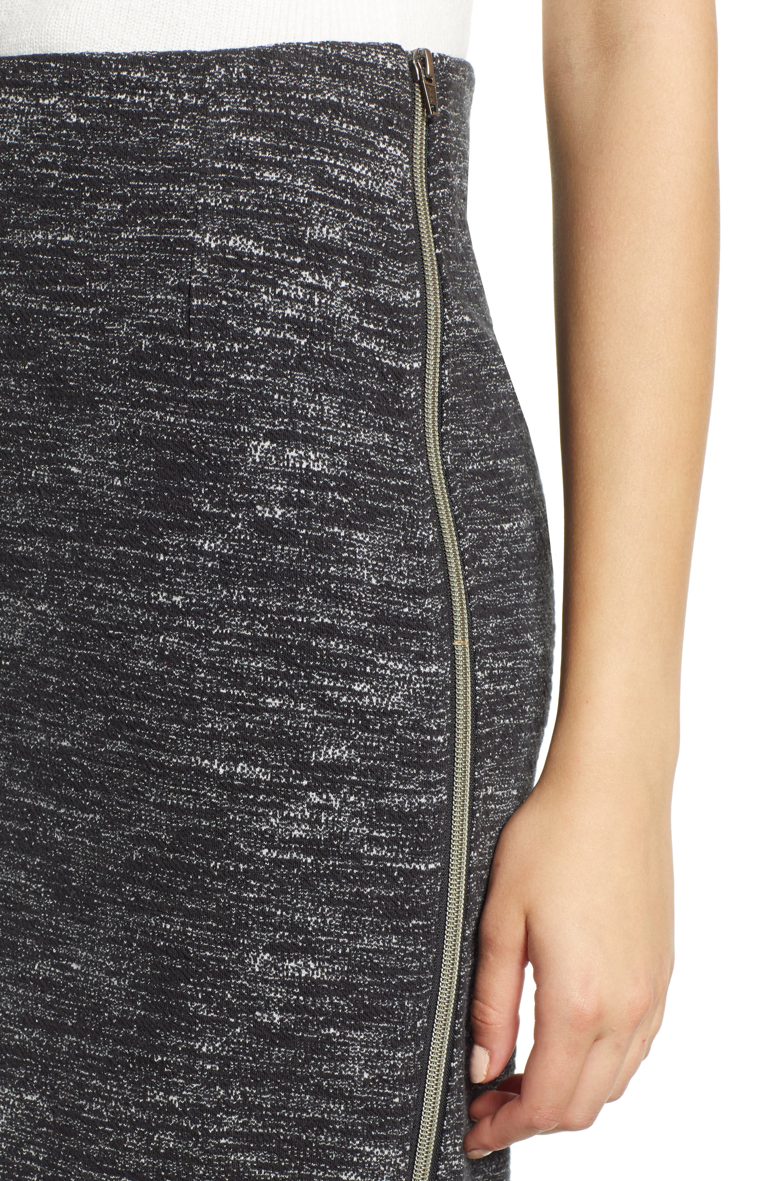 Side Zip Ponte Pencil Skirt,                             Alternate thumbnail 4, color,                             001