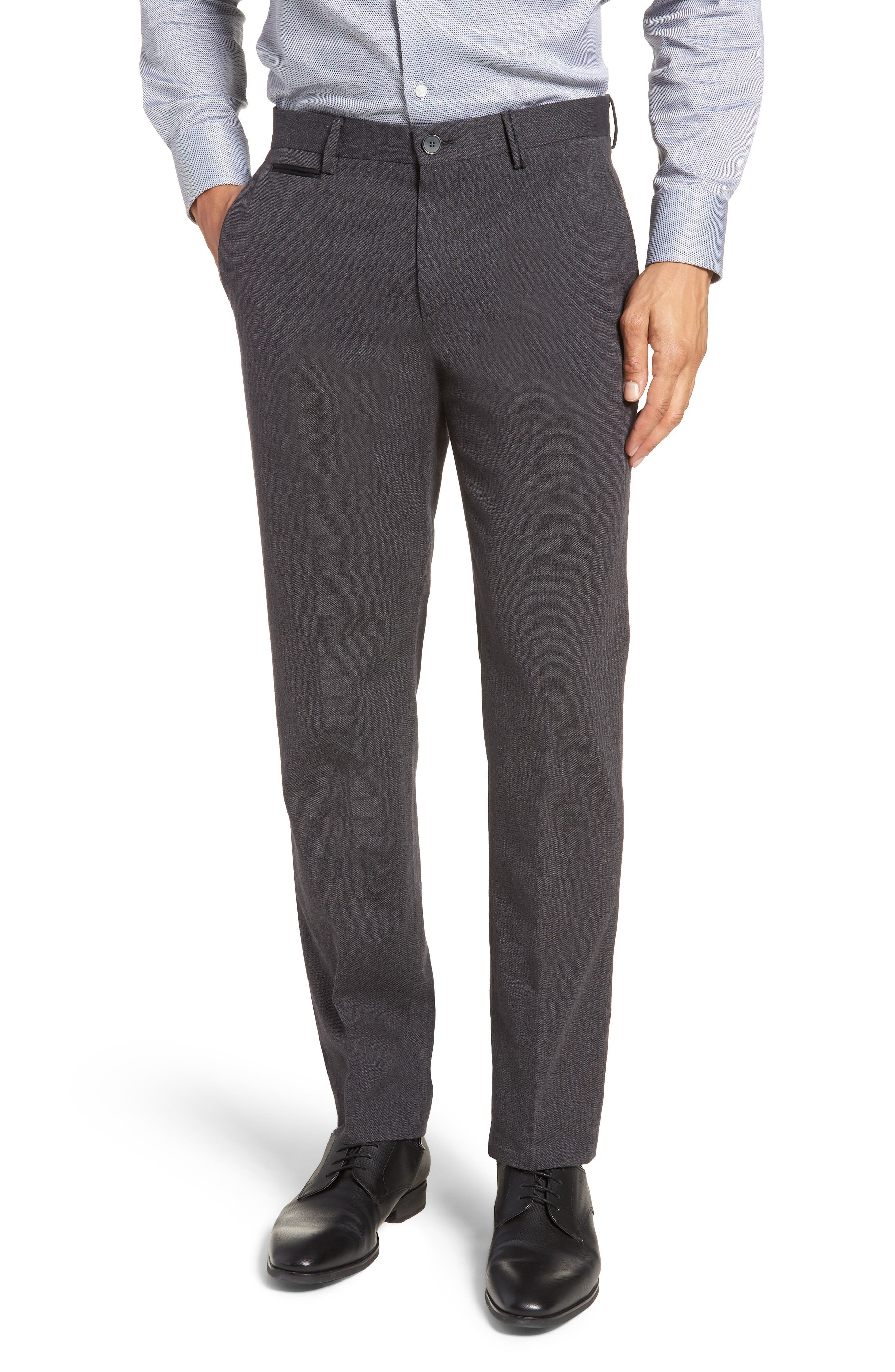 Batho Flat Front Solid Cotton Trousers,                         Main,                         color, MEDIUM GREY