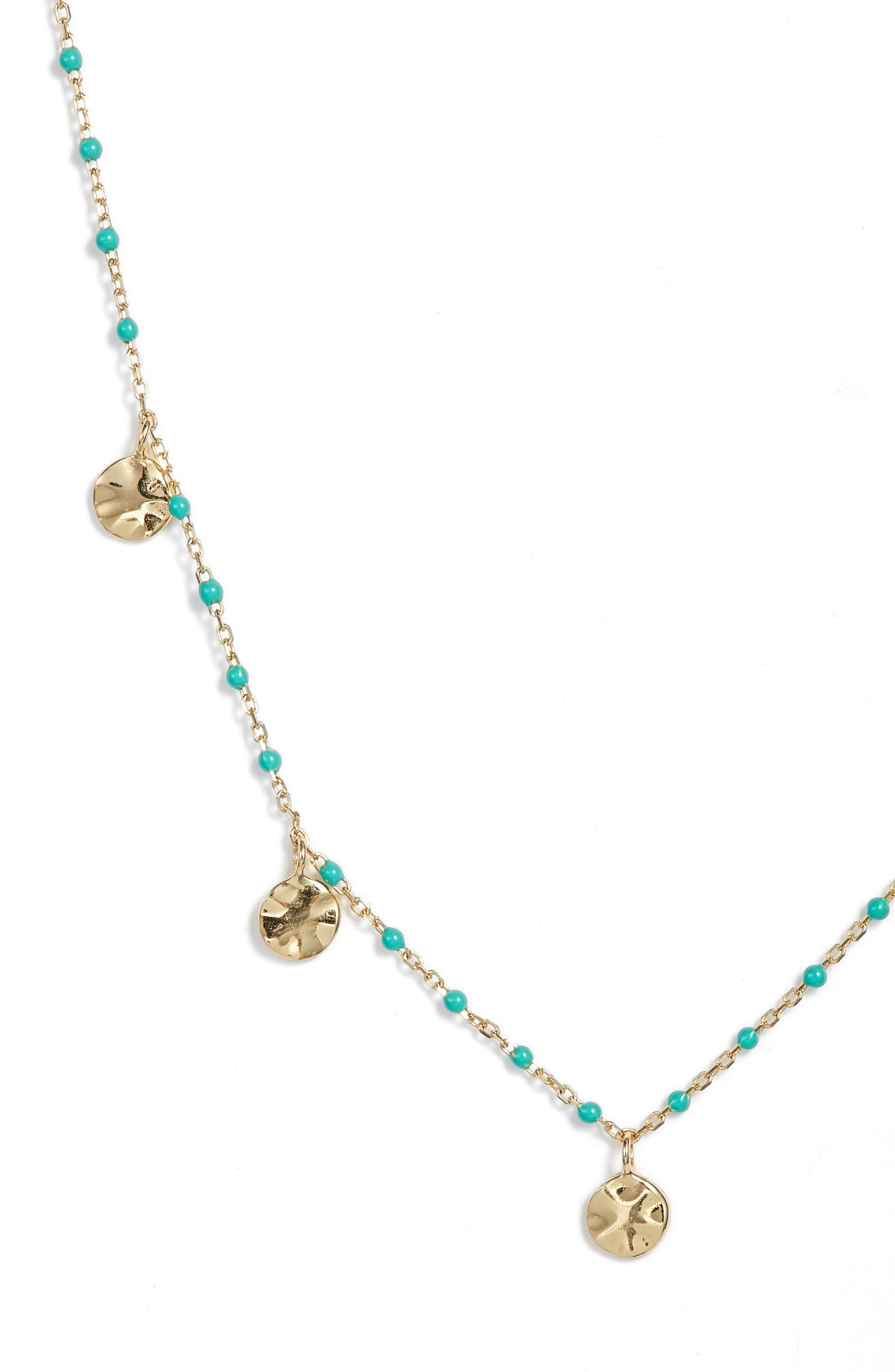 Enamel Bead Mirror Drop Necklace,                             Alternate thumbnail 2, color,                             TURQUOISE/ GOLD