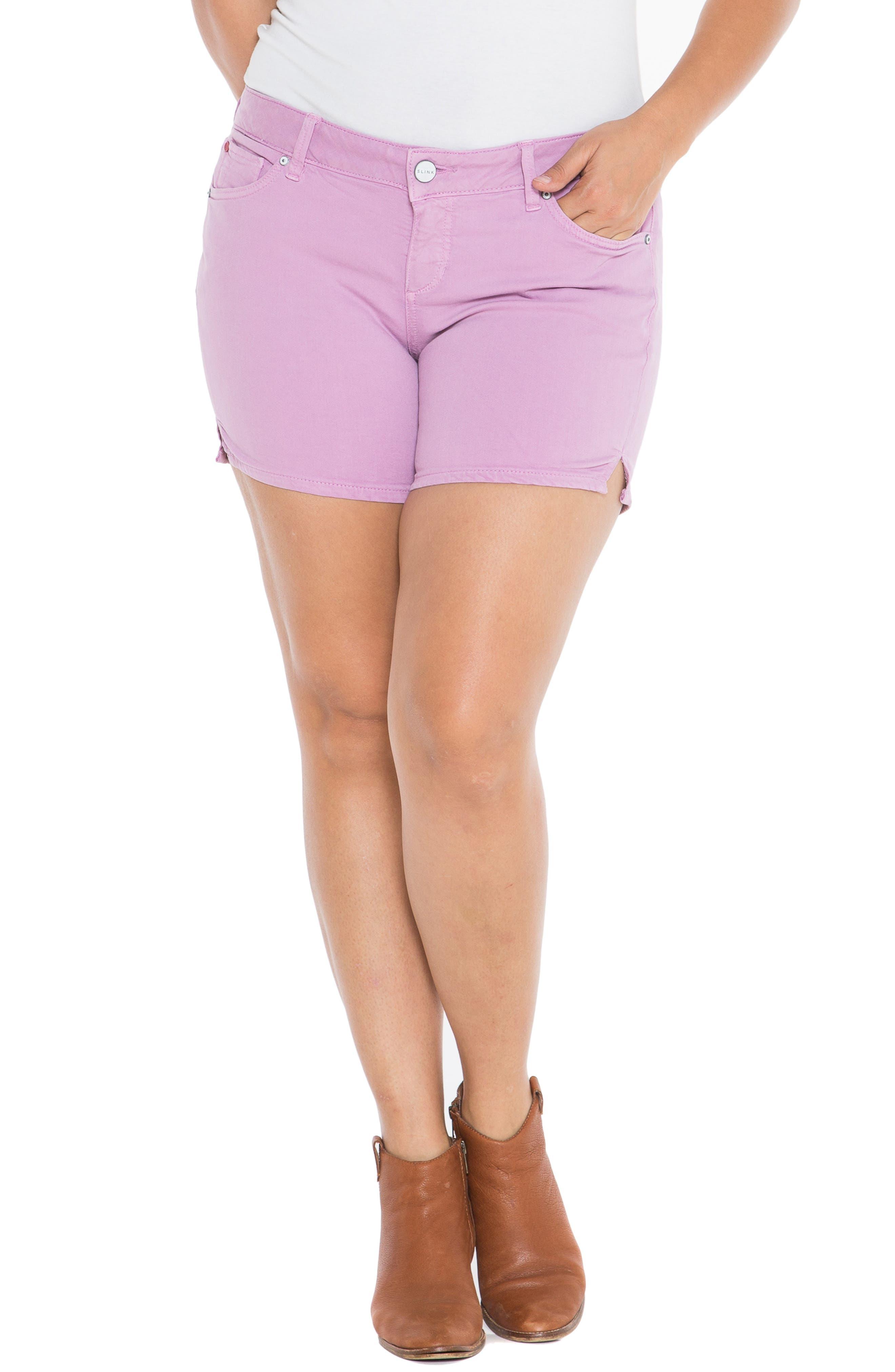 Camo Side Slit Shorts,                             Alternate thumbnail 4, color,                             MAUVE MIST