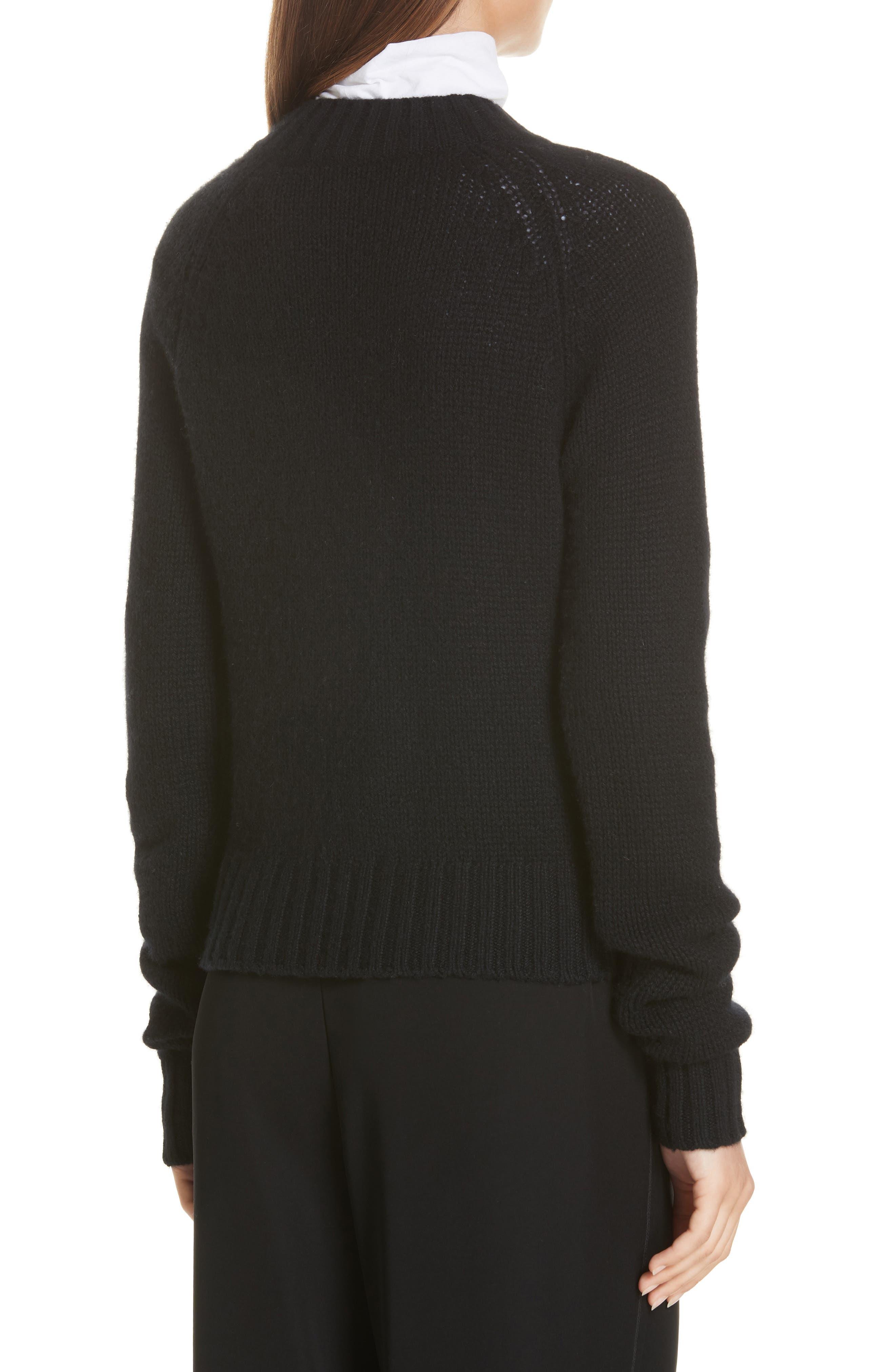 Shrunken Cashmere Sweater,                             Alternate thumbnail 2, color,                             BLACK