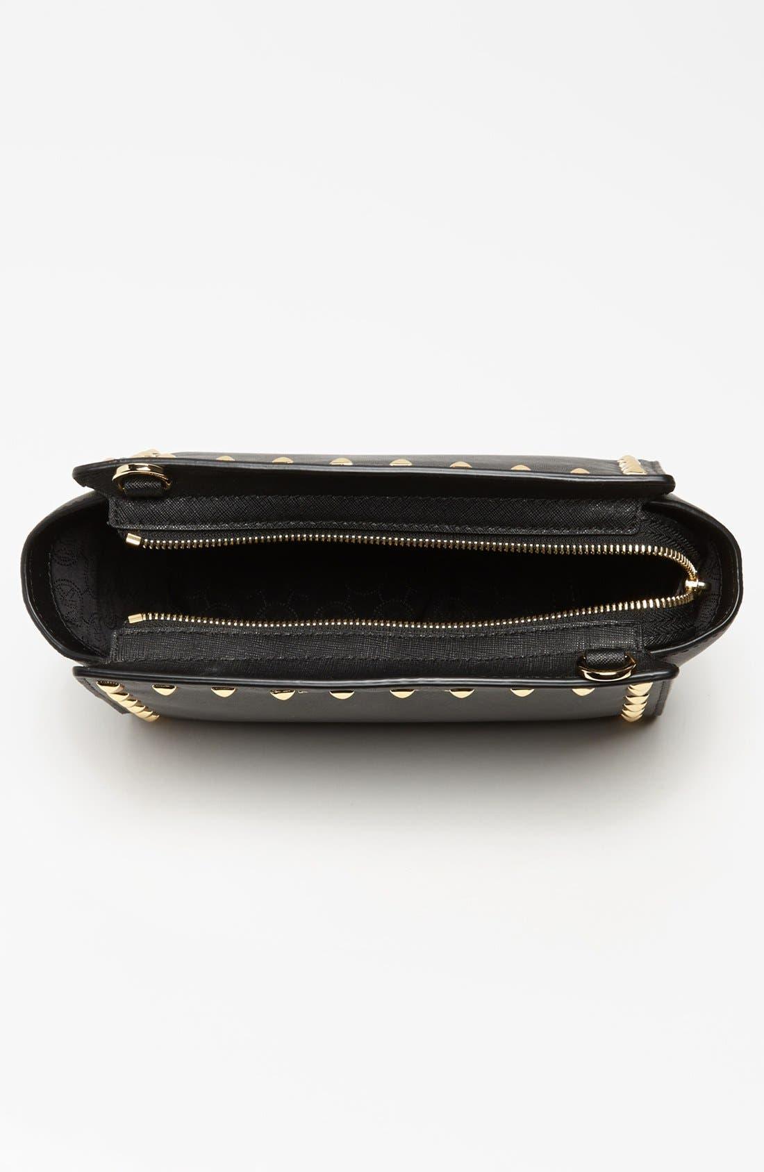 'Selma - Stud' Saffiano Leather Crossbody Bag,                             Alternate thumbnail 3, color,                             001