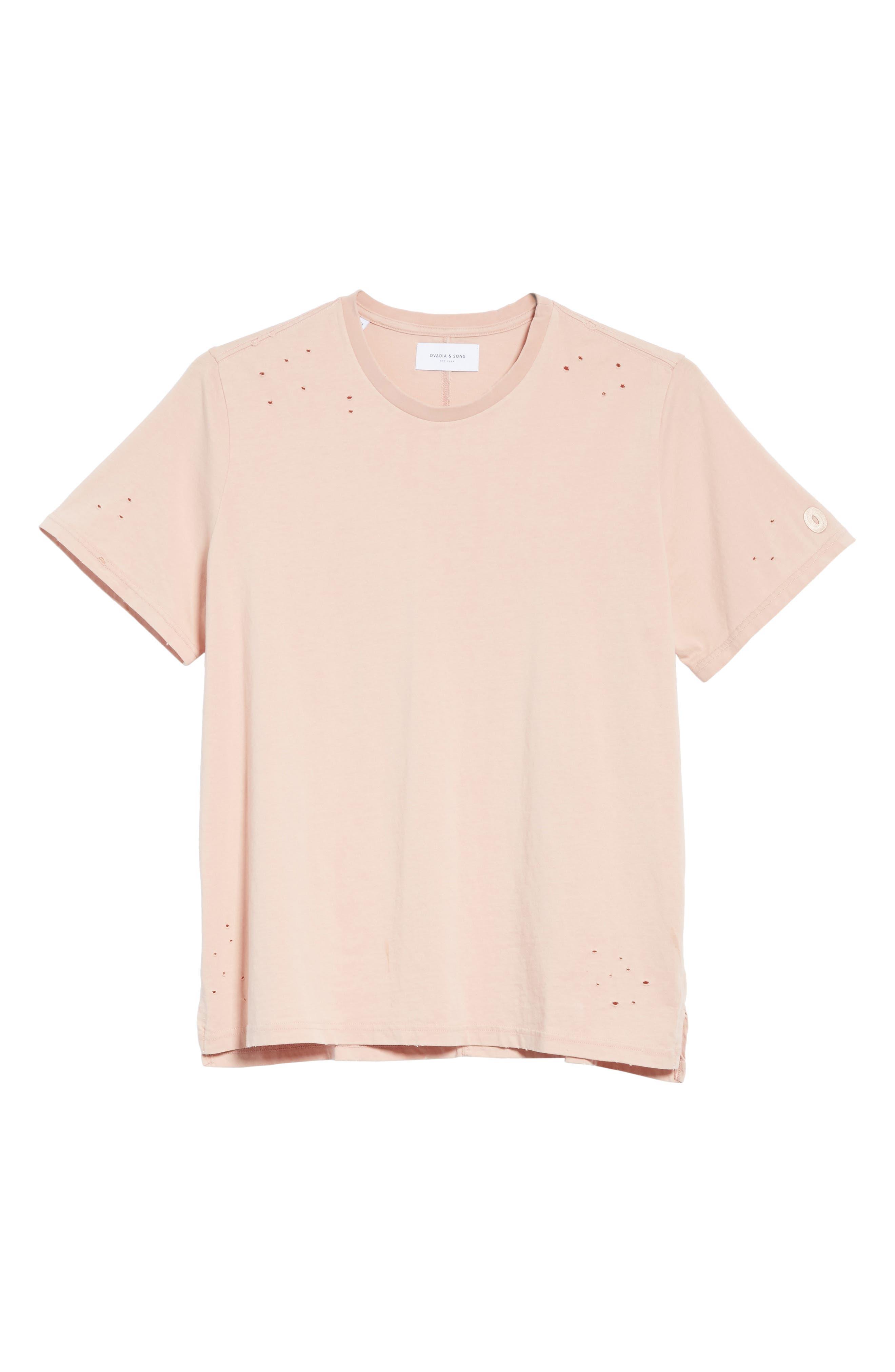 Distressed Crewneck T-Shirt,                             Alternate thumbnail 6, color,                             SALMON