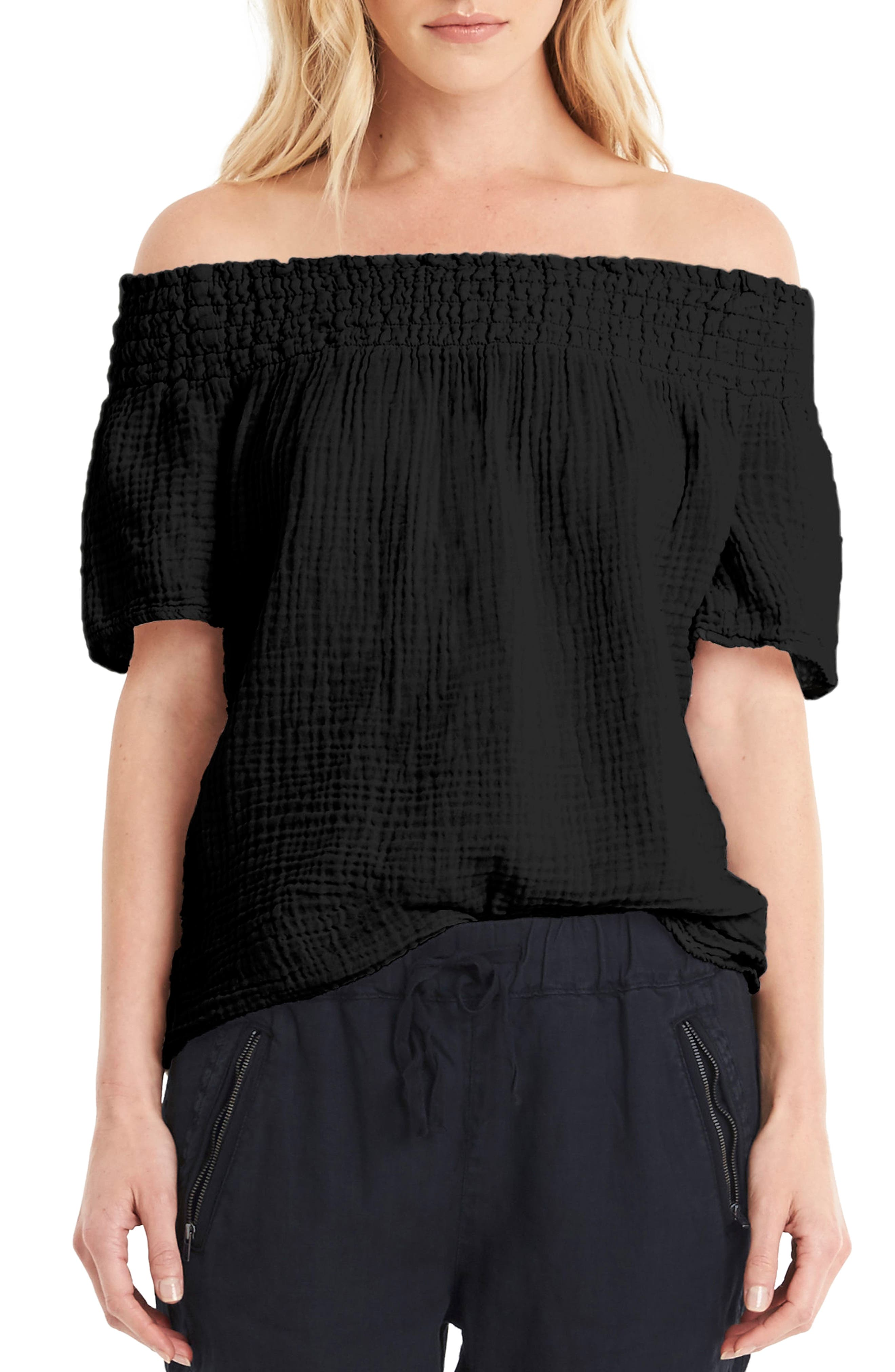Smocked Cotton Off the Shoulder Top,                             Main thumbnail 1, color,                             001