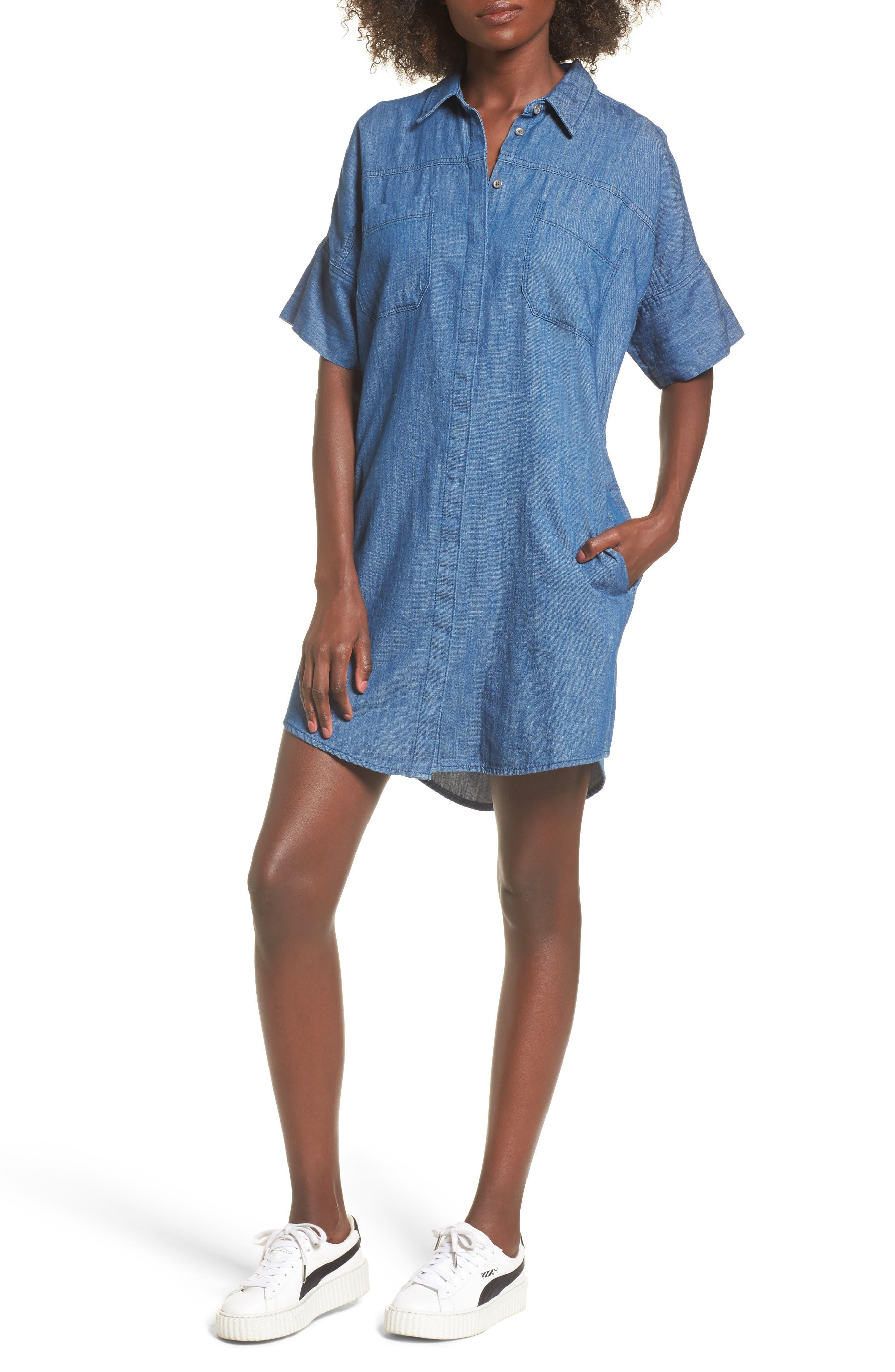 Denim Shirtdress,                         Main,                         color,