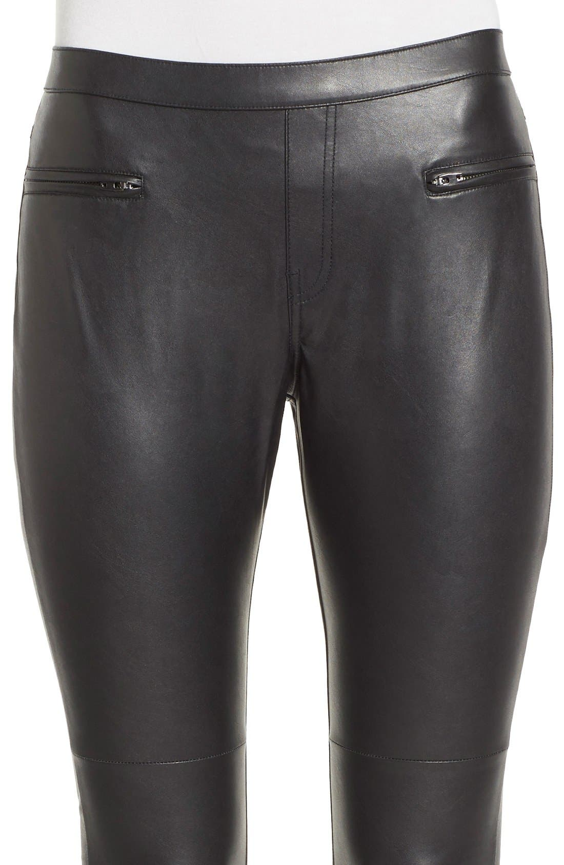 'Leatherette Skimmer' Faux Leather Leggings,                             Alternate thumbnail 4, color,                             001