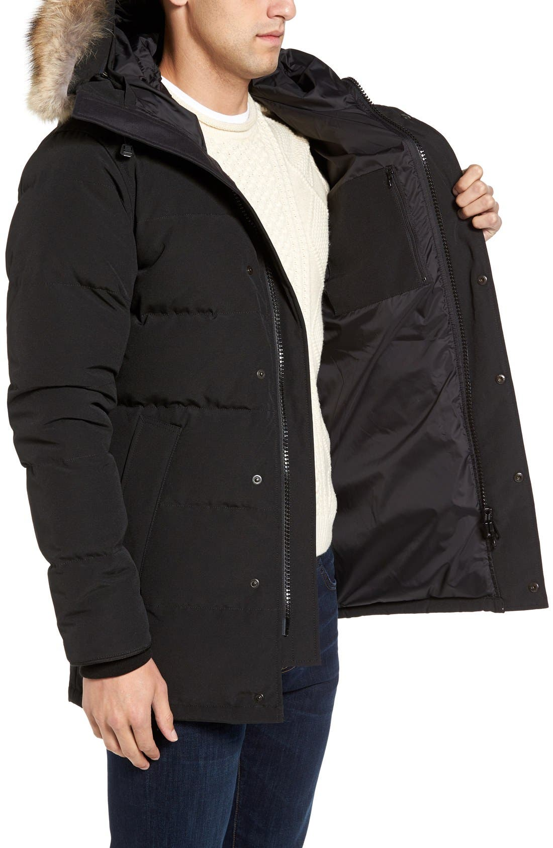 'Carson' Slim Fit Hooded Packable Parka with Genuine Coyote Fur Trim,                             Alternate thumbnail 8, color,                             BLACK