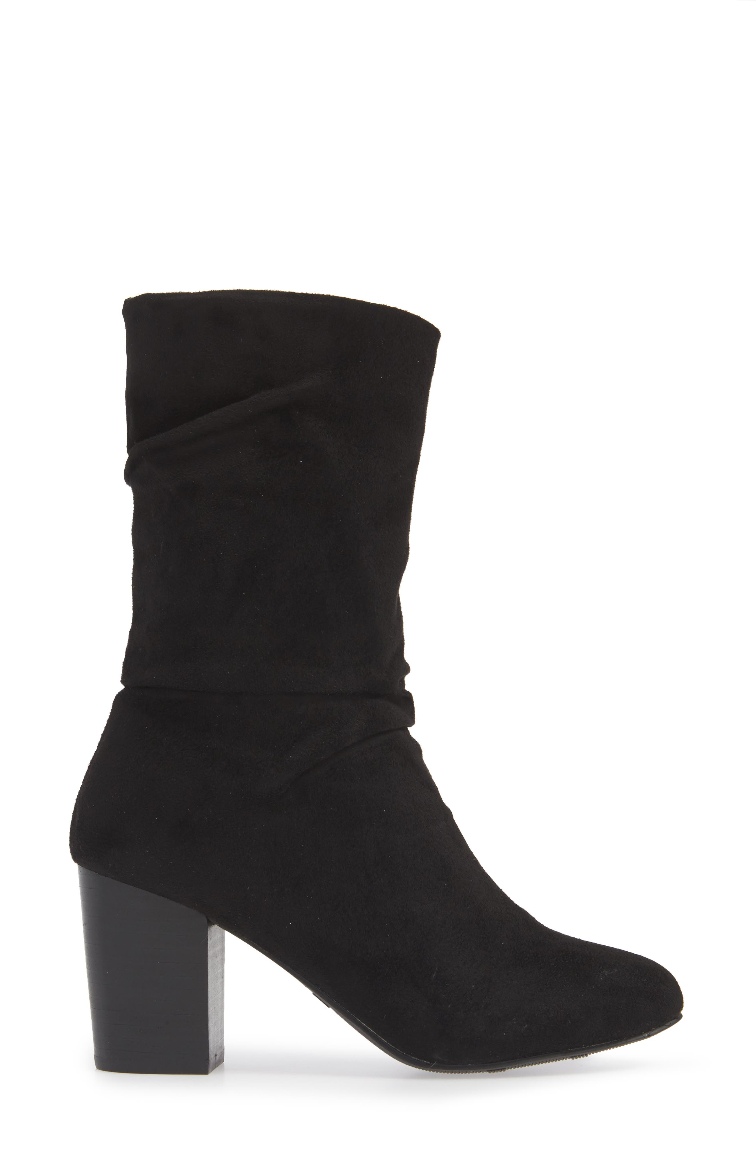 Steffani Slouchy Pull-On Bootie,                             Alternate thumbnail 3, color,                             BLACK