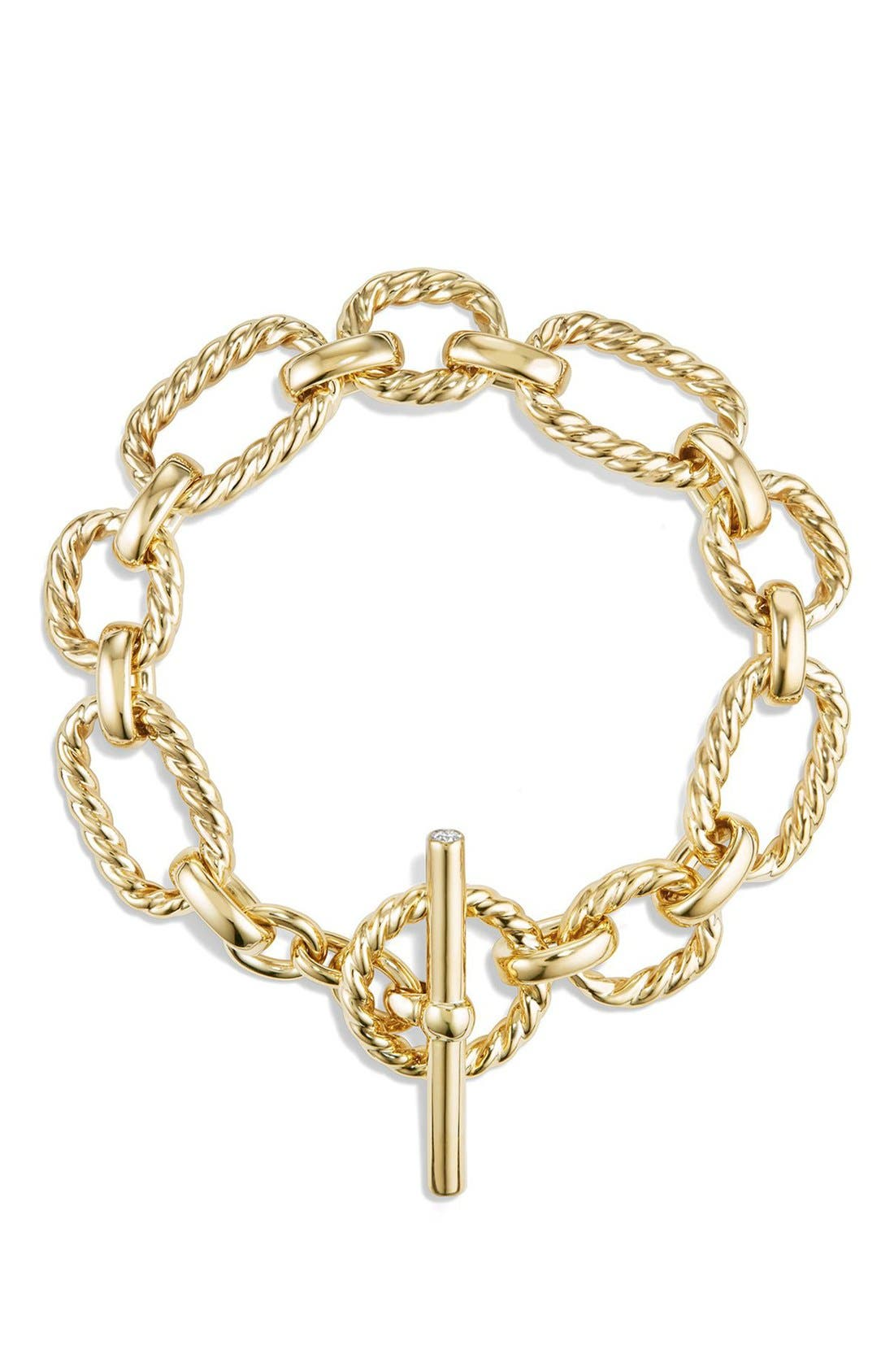 'Chain' Cushion Link Bracelet with Diamonds in 18K Gold,                             Alternate thumbnail 4, color,                             GOLD