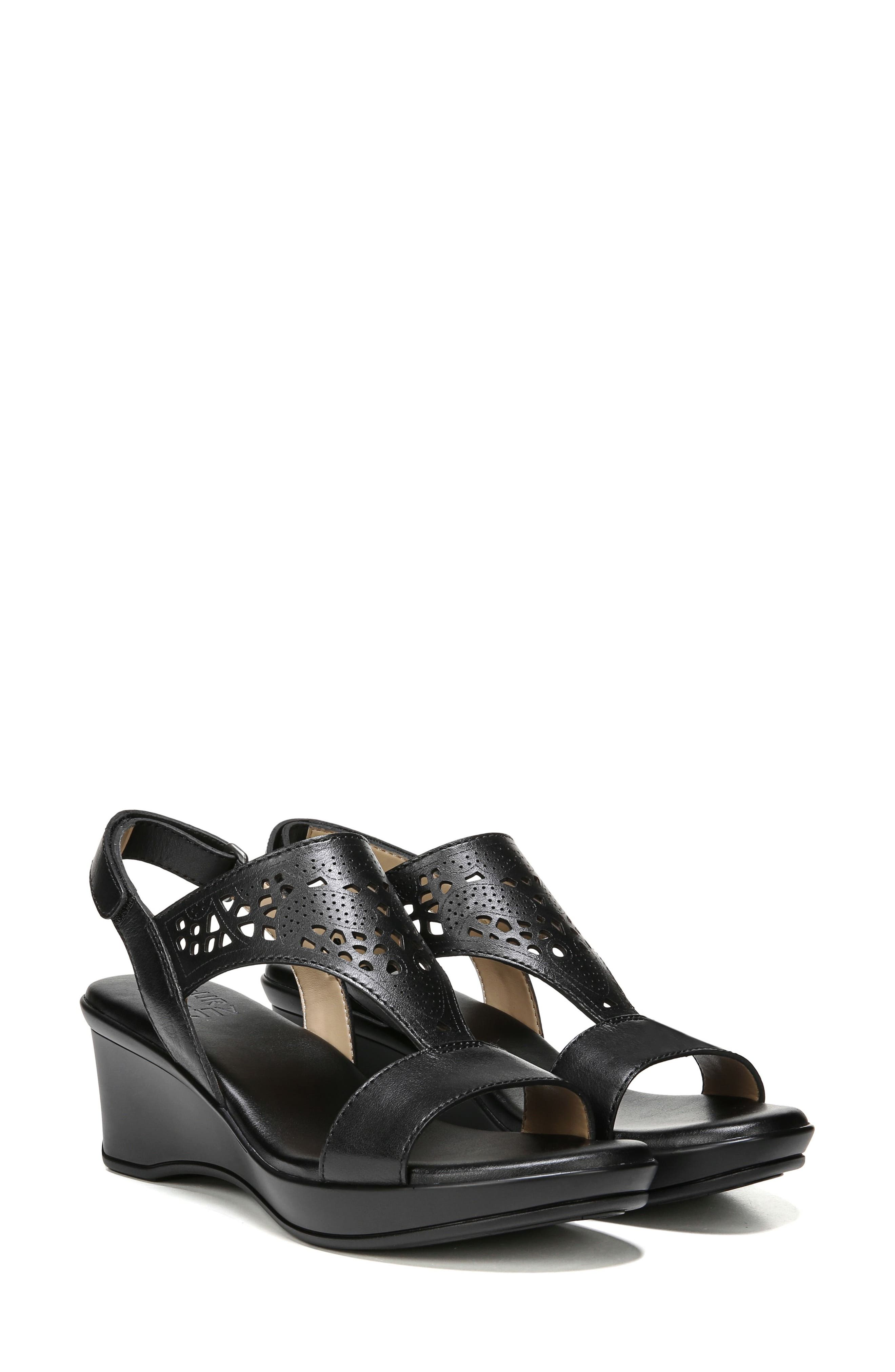 Veda Wedge Sandal,                             Alternate thumbnail 8, color,                             BLACK LEATHER