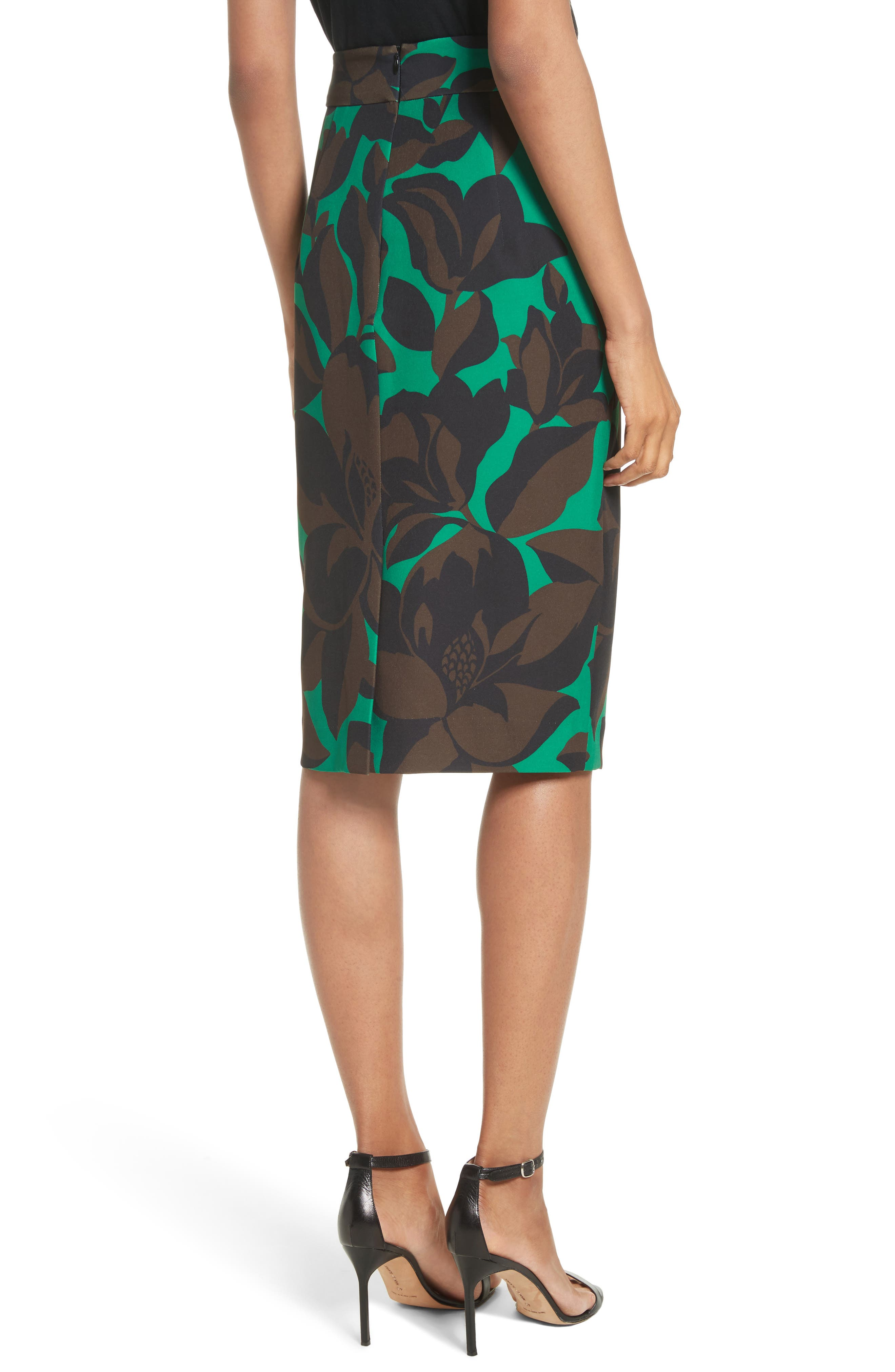 Classic Floral Print Midi Skirt,                             Alternate thumbnail 2, color,                             301