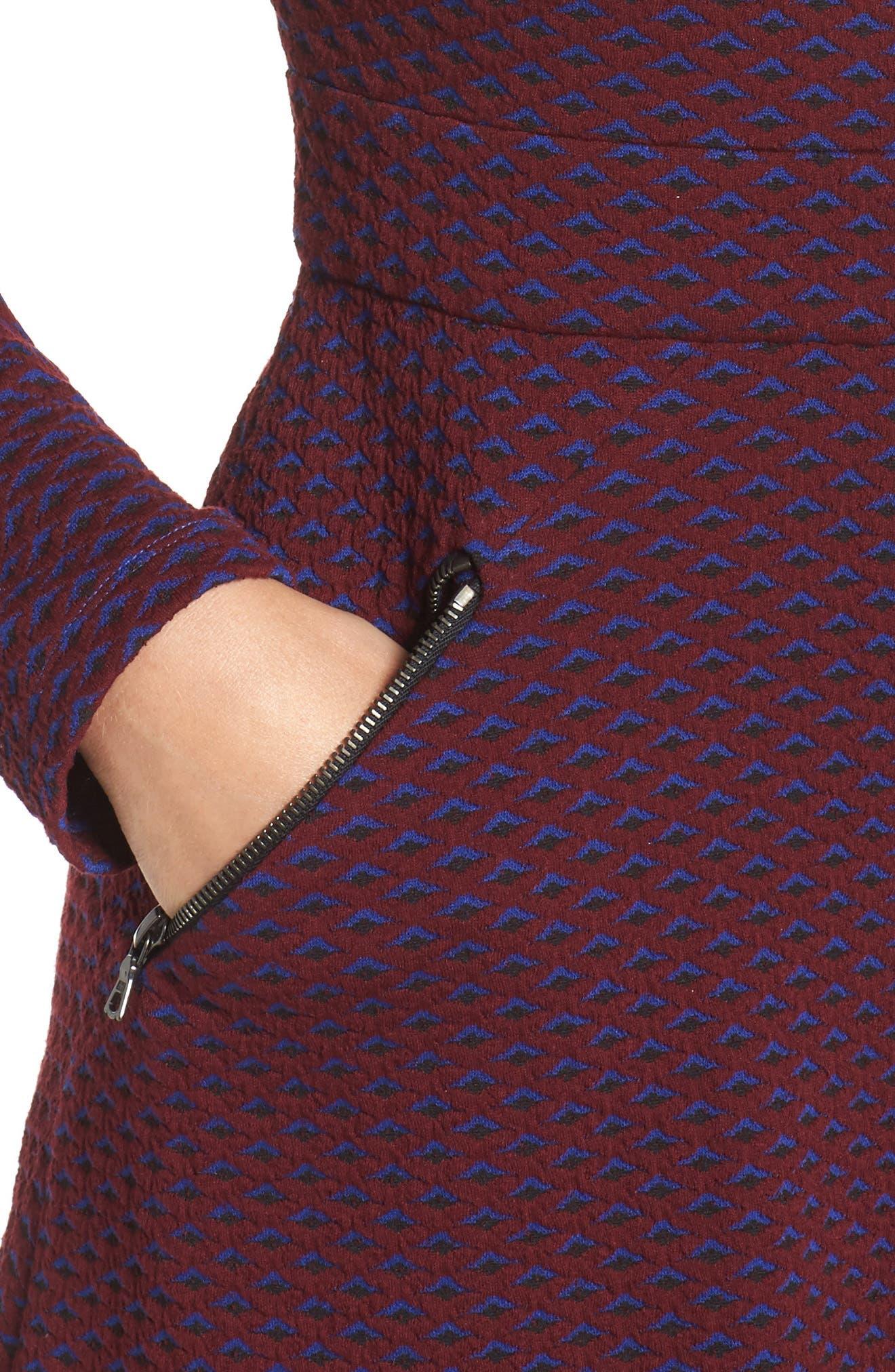 Jacquard Fit & Flare Dress,                             Alternate thumbnail 4, color,                             401