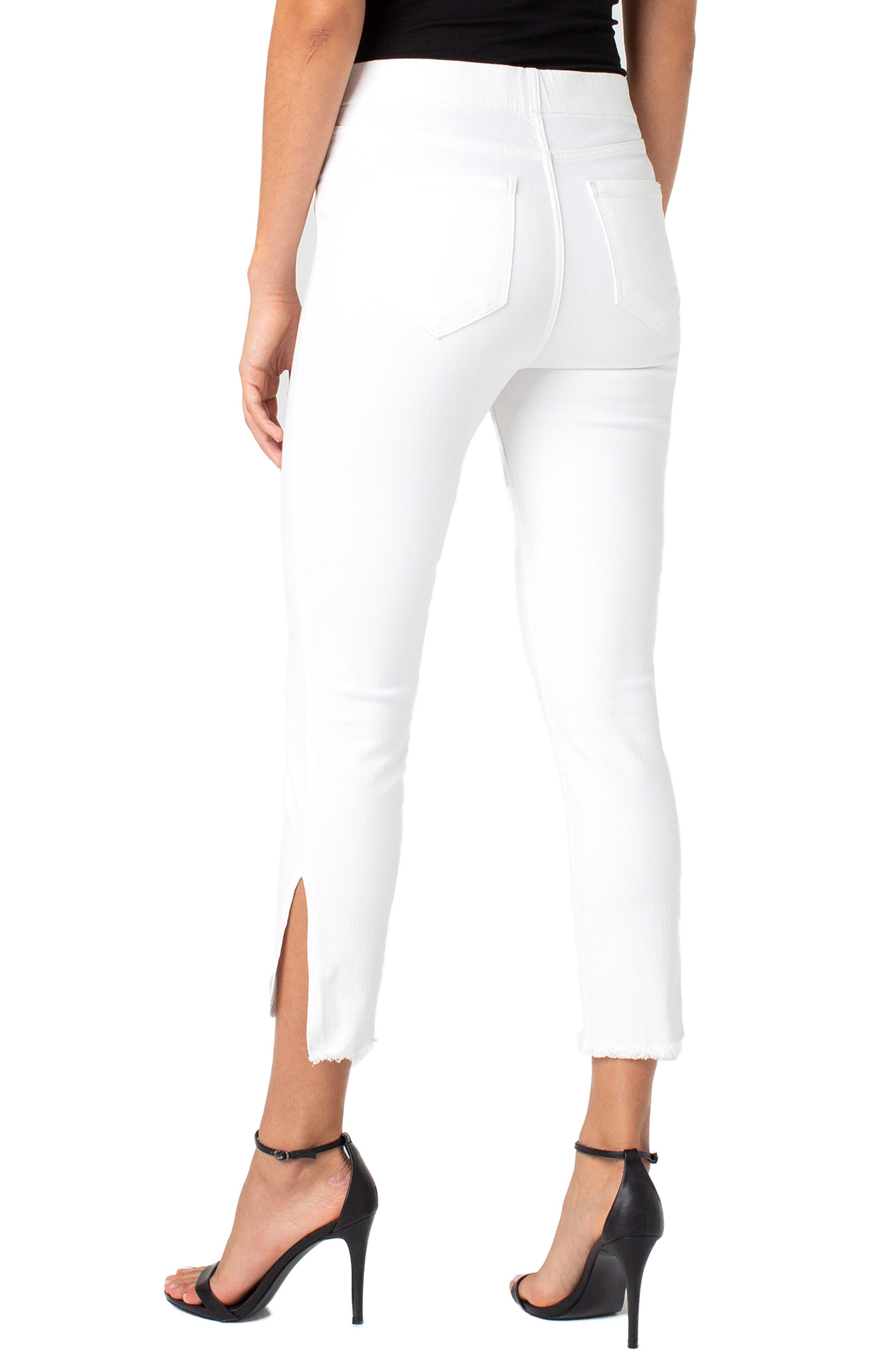 Chloe High Waist Slit Hem Pull-On Skinny Jeans,                             Alternate thumbnail 2, color,                             BRIGHT WHITE