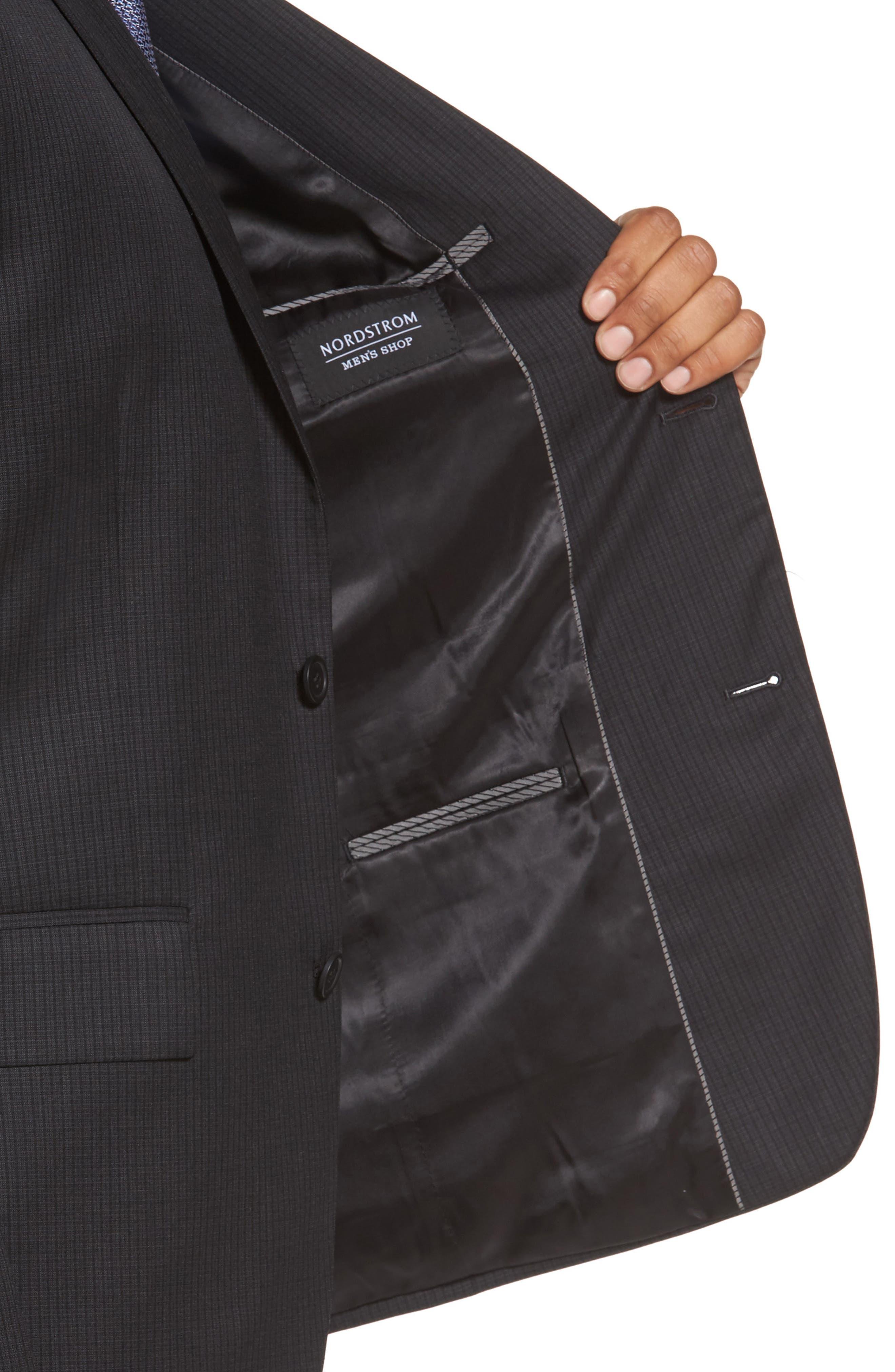 Classic Fit Check Wool Suit,                             Alternate thumbnail 4, color,                             001