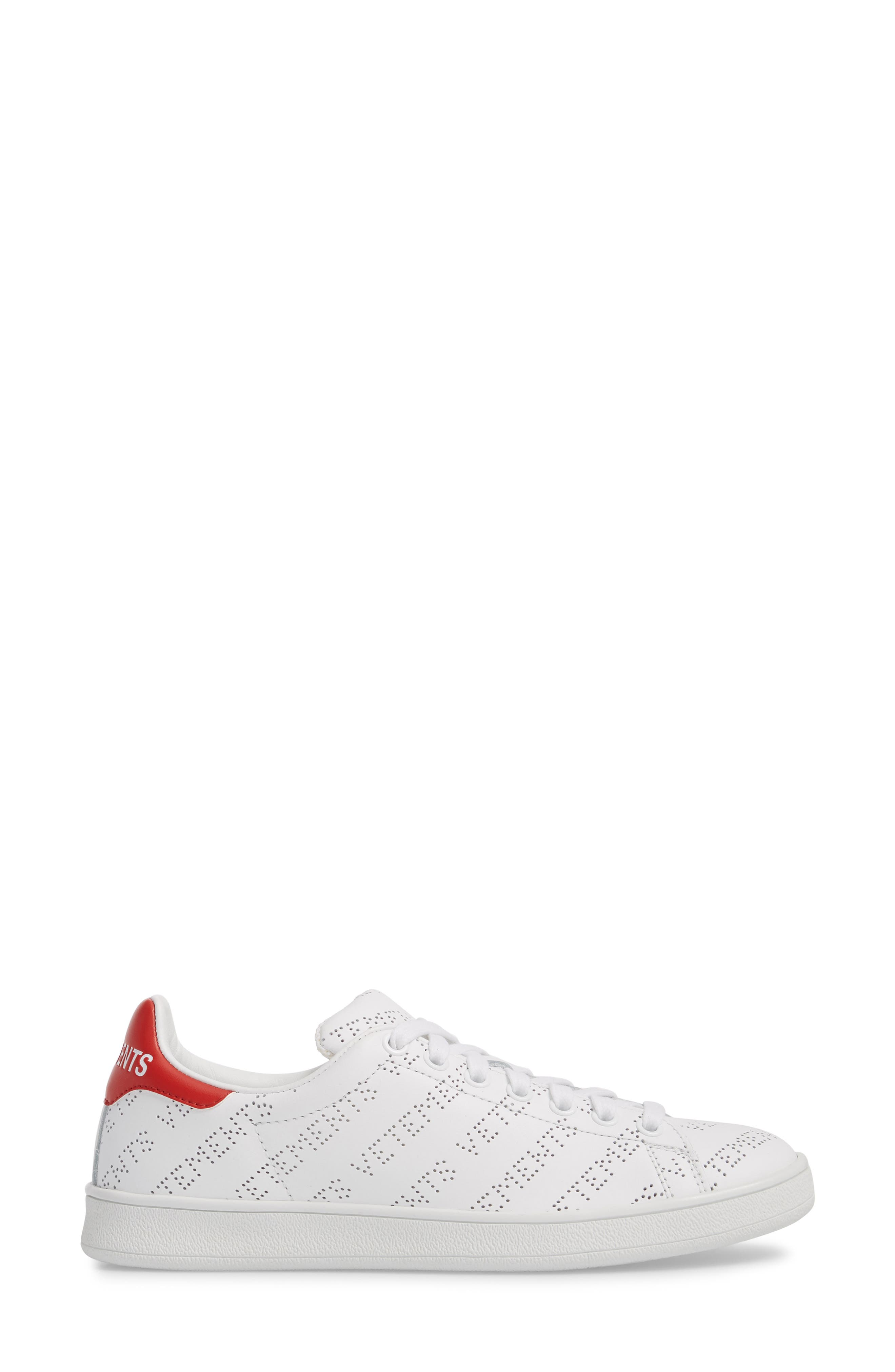 Perforated Sneaker,                             Alternate thumbnail 3, color,                             WHITE RED