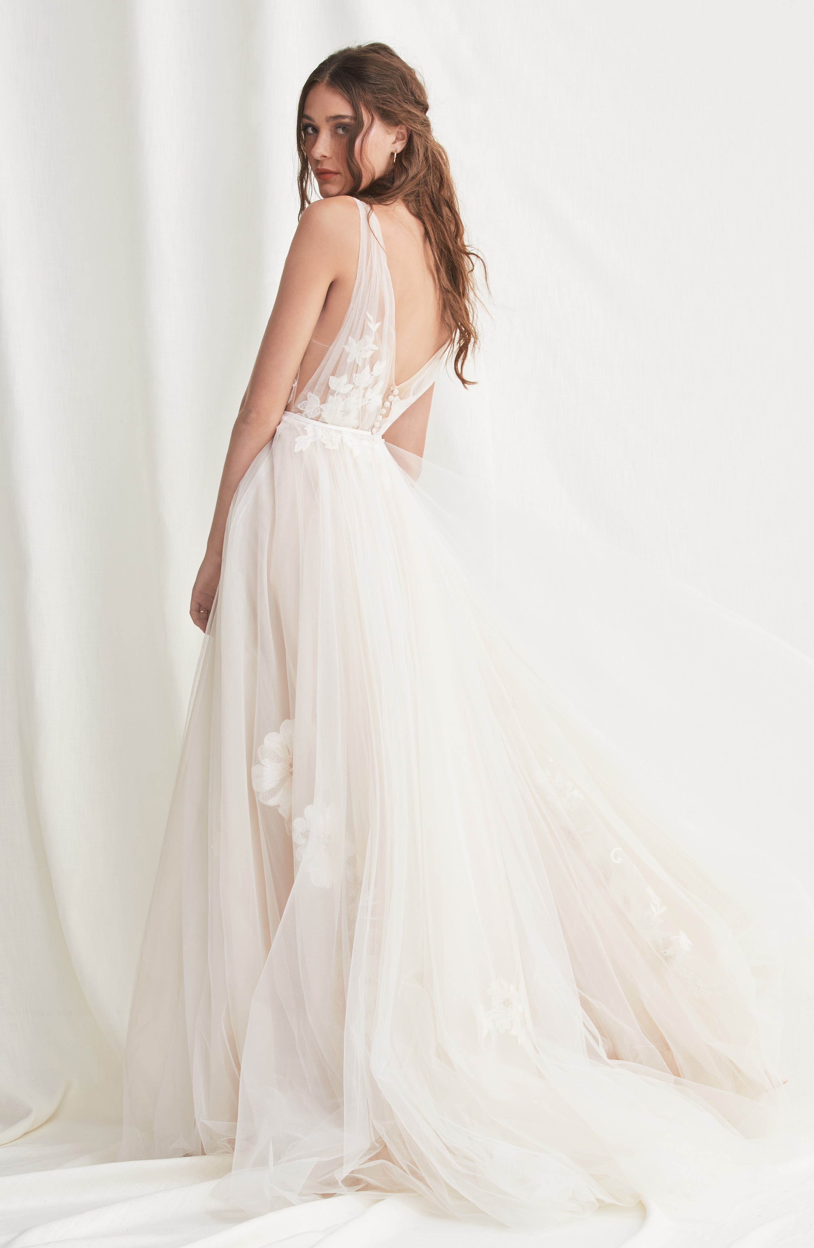 Lanie Floral Appliqué & Tulle A-Line Wedding Dress,                             Alternate thumbnail 2, color,                             900