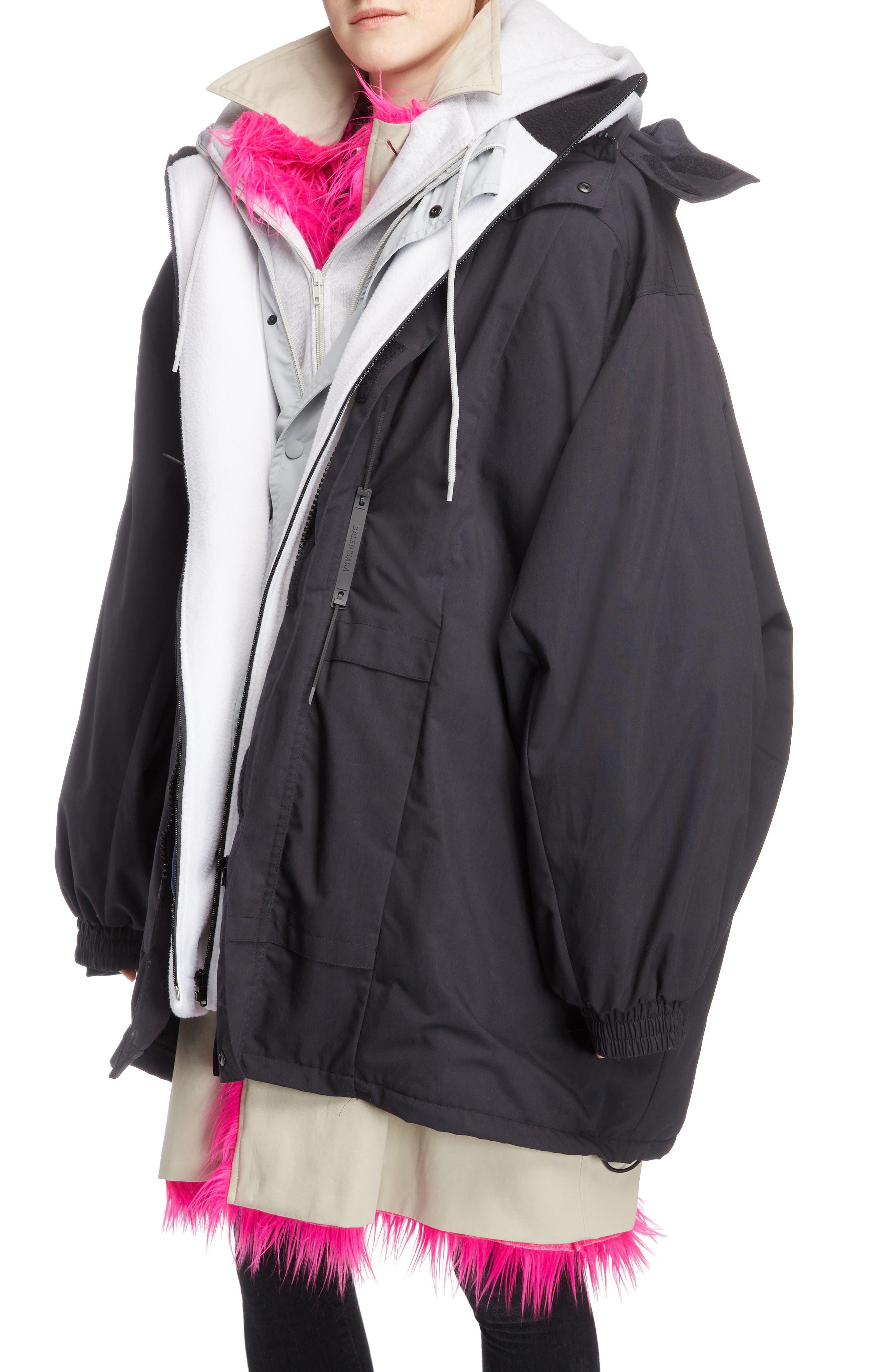 Layered Coat,                             Alternate thumbnail 4, color,                             1000-BLACK