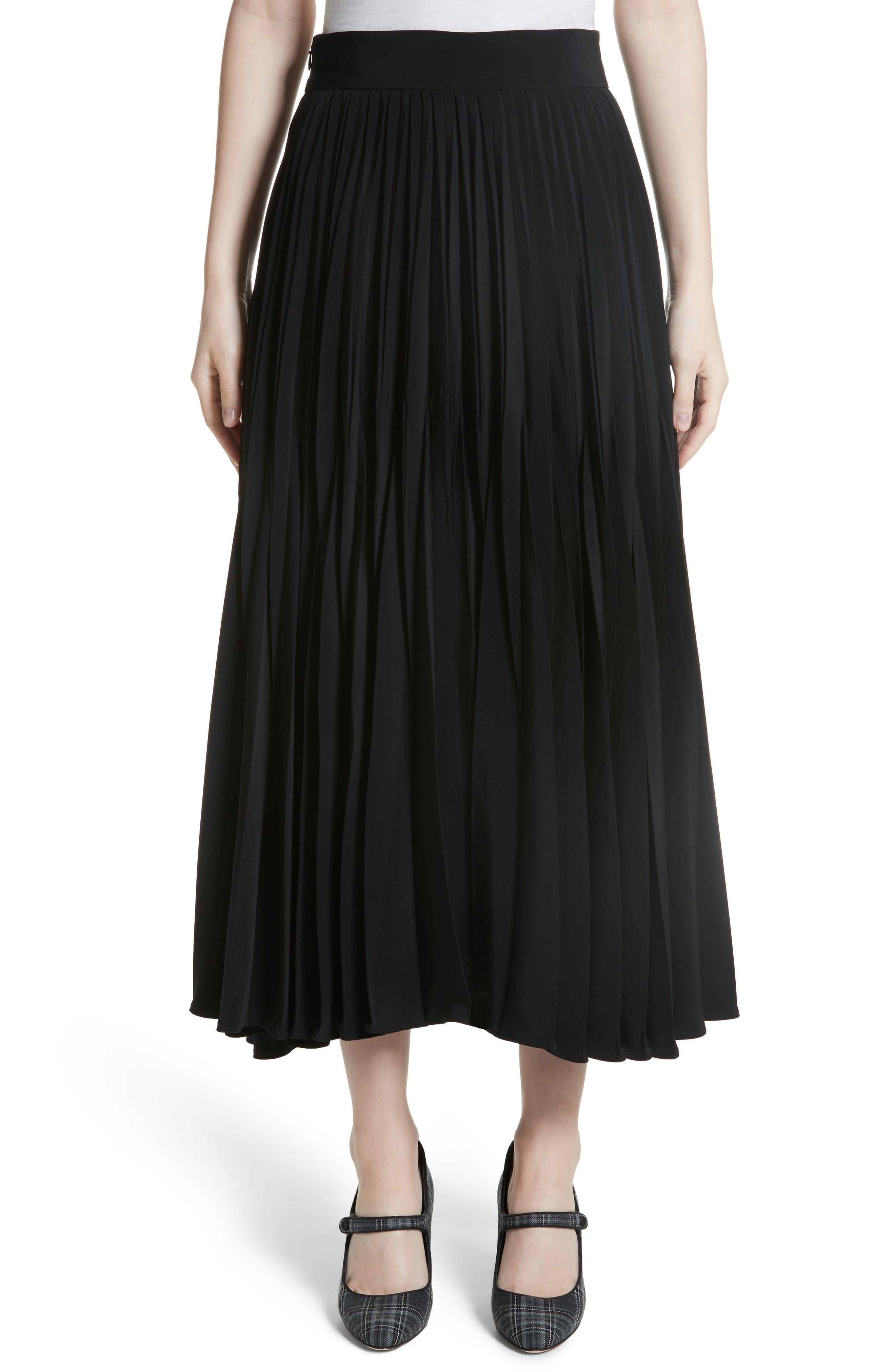 Pleated Stretch Crepe Midi Skirt,                             Main thumbnail 1, color,                             001