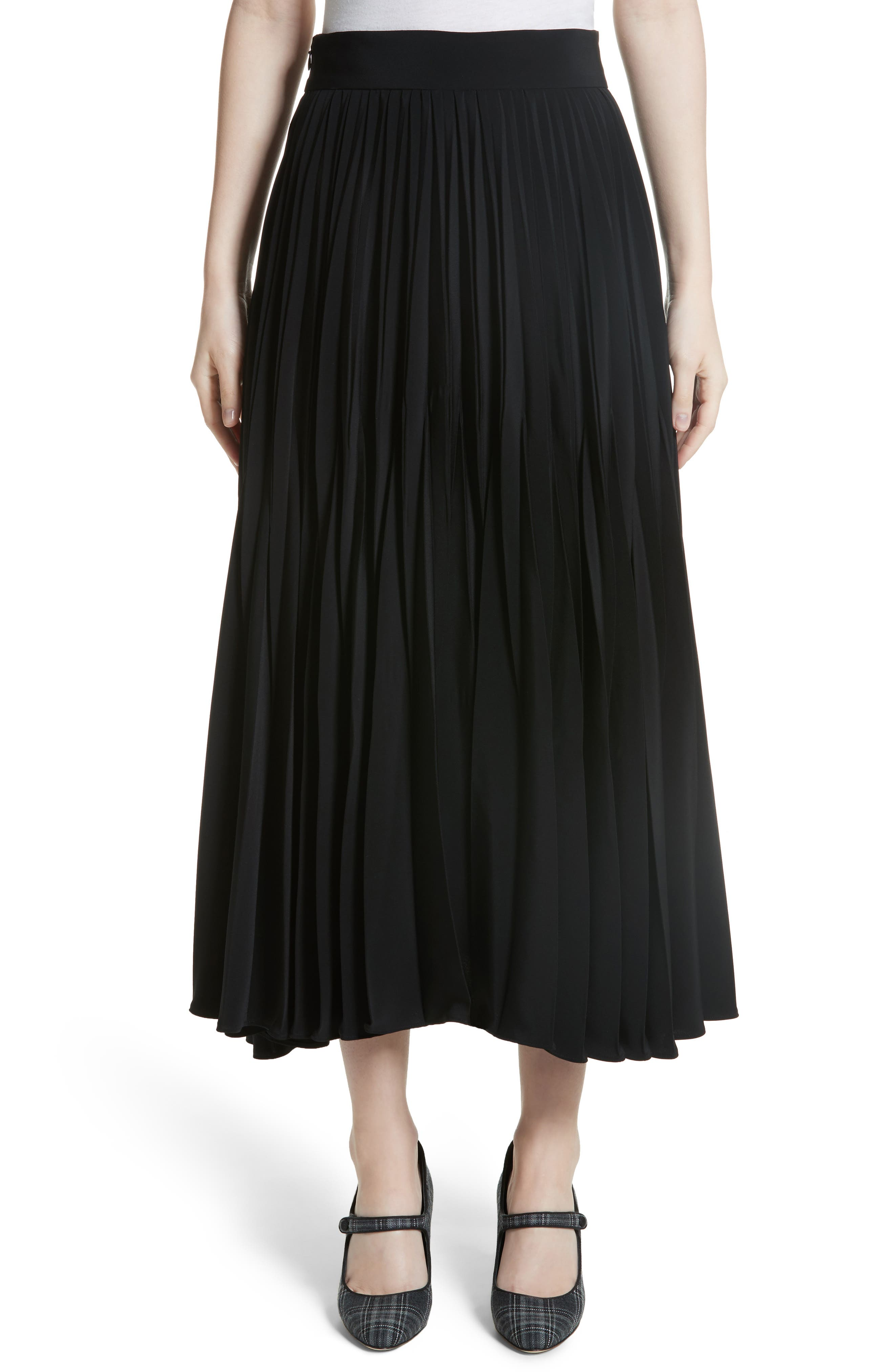 Pleated Stretch Crepe Midi Skirt,                         Main,                         color, BLACK