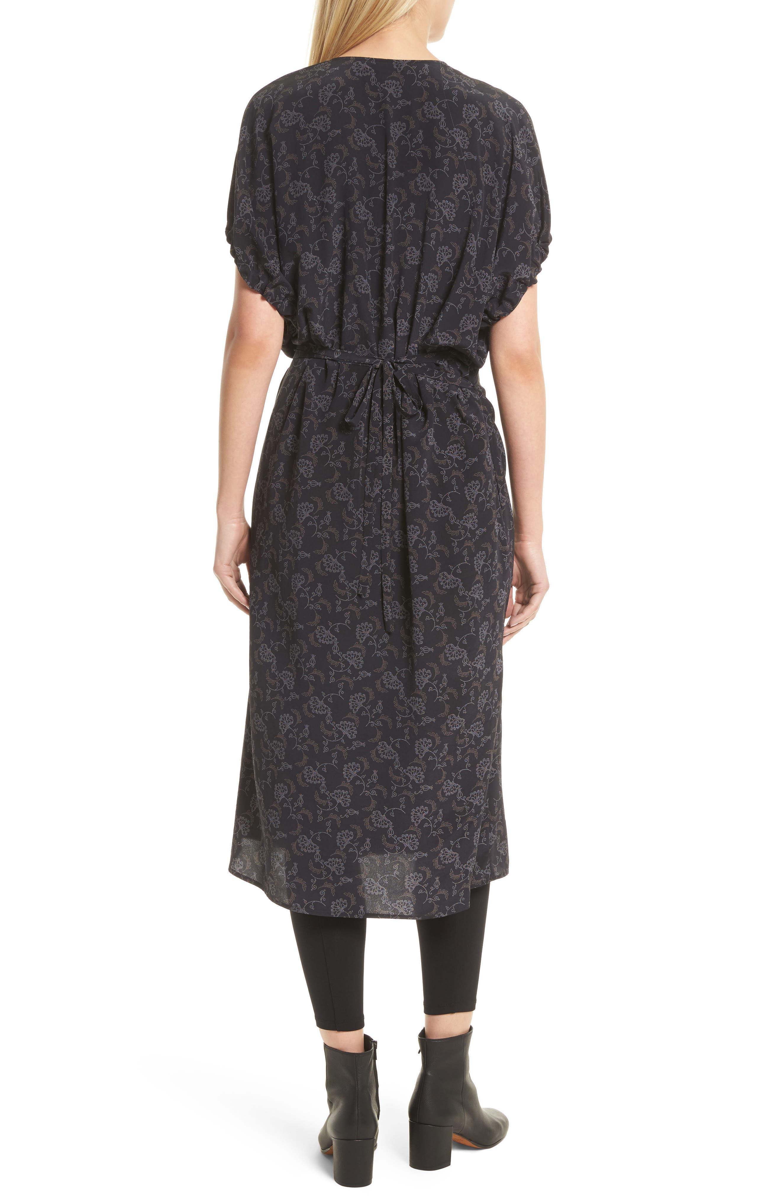 Floral Dot Kimono Silk Wrap Dress,                             Alternate thumbnail 2, color,                             001