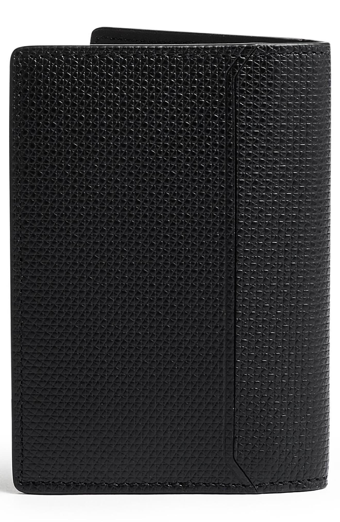 Monaco Folding Leather Card Case,                             Alternate thumbnail 3, color,                             BLACK