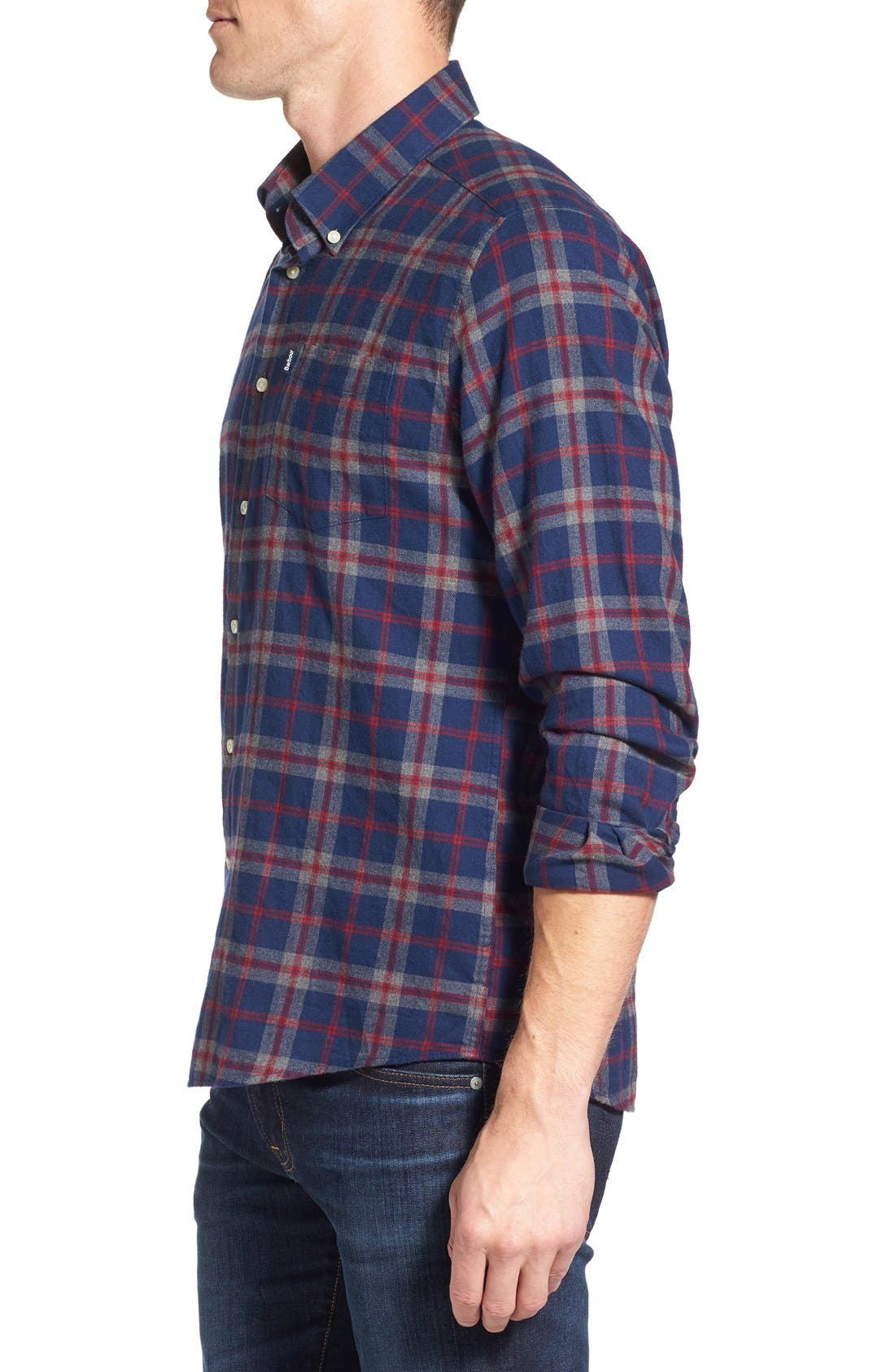 Seth Tailored Fit Plaid Sport Shirt,                             Alternate thumbnail 10, color,