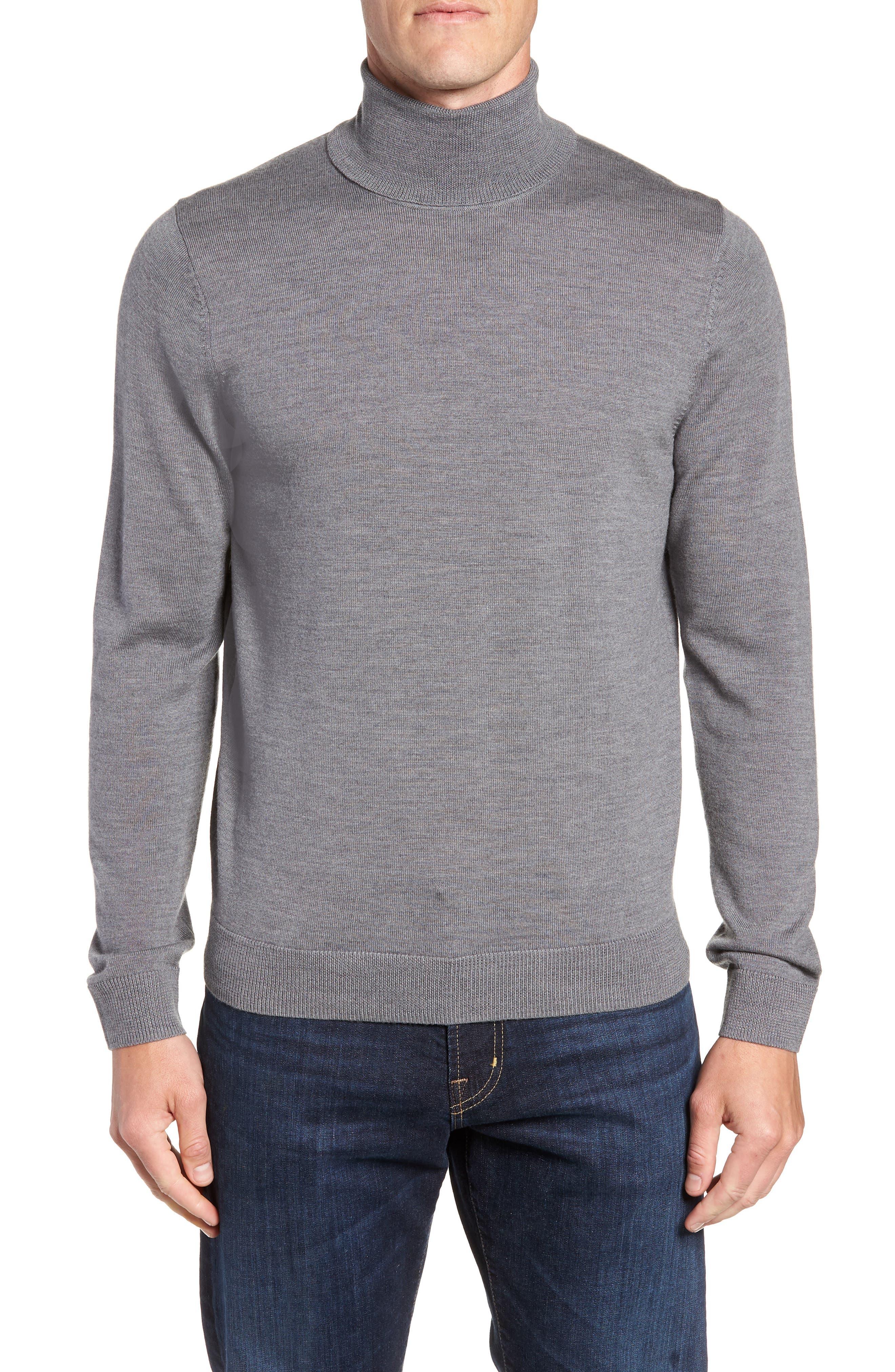 Nordstrom Shop Merino Wool Turtleneck Sweater, Grey