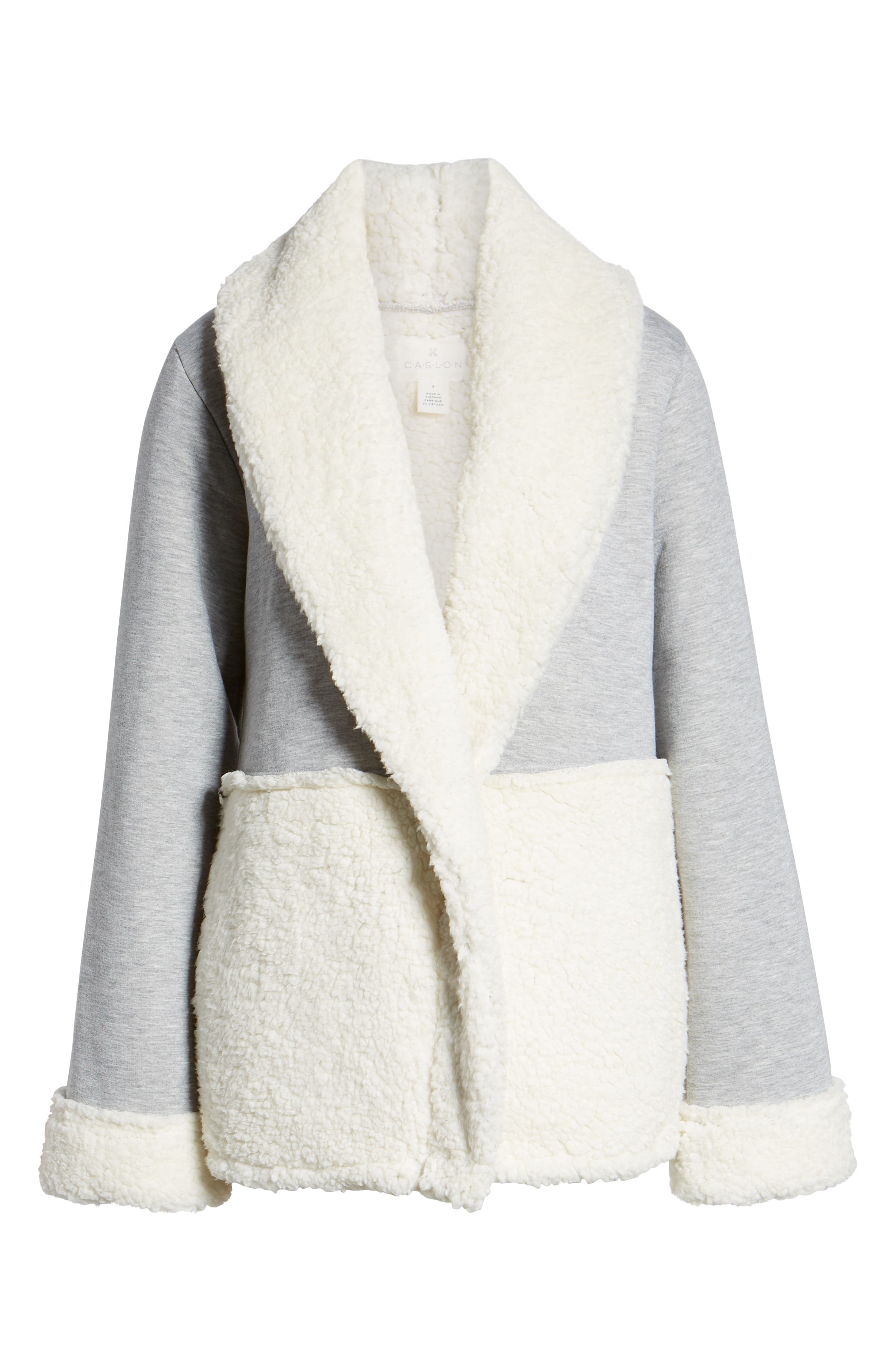 CASLON<SUP>®</SUP>,                             Faux Shearling Jacket,                             Alternate thumbnail 6, color,                             030