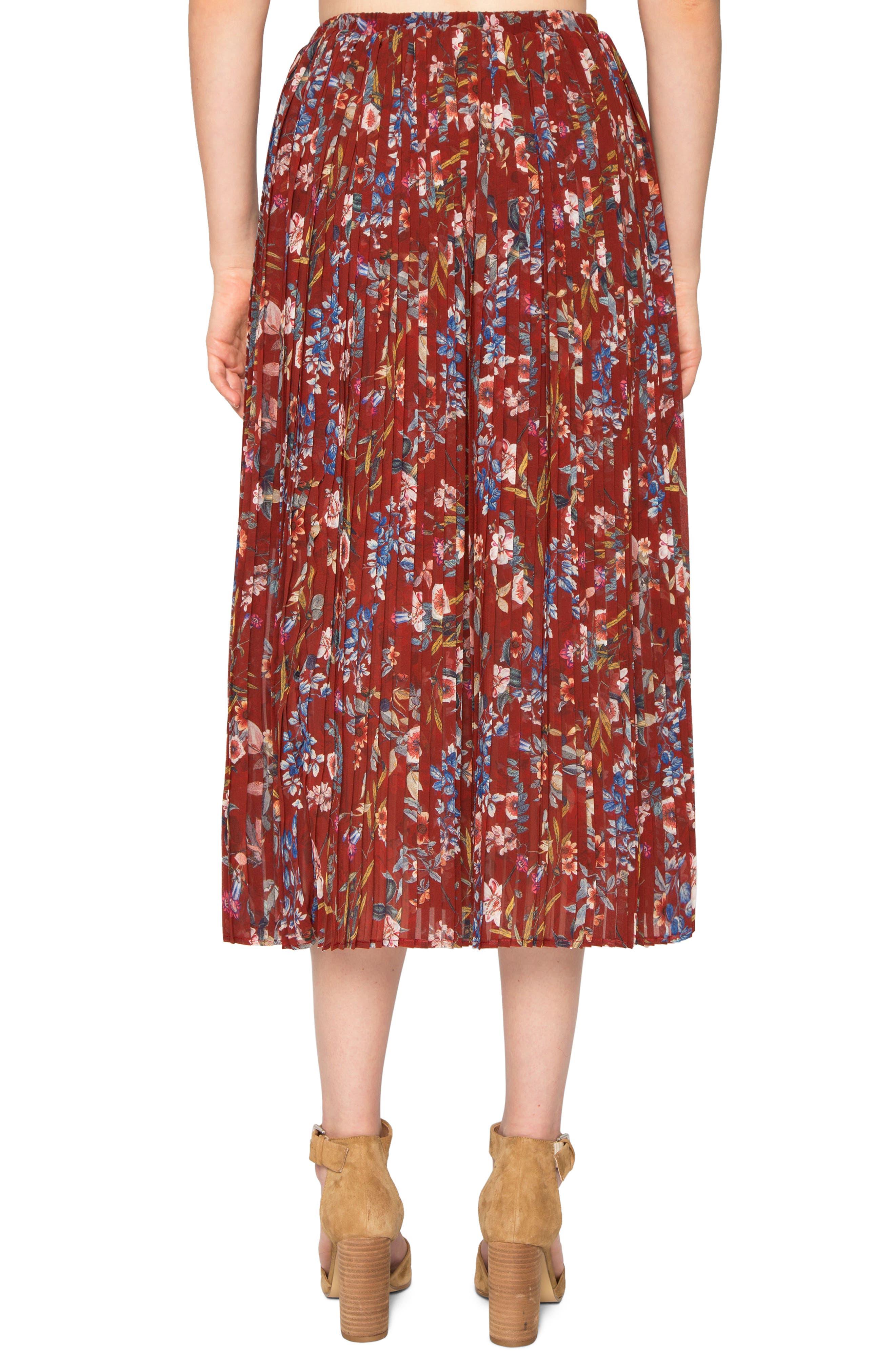 Pleated Print Skirt,                             Alternate thumbnail 2, color,                             645