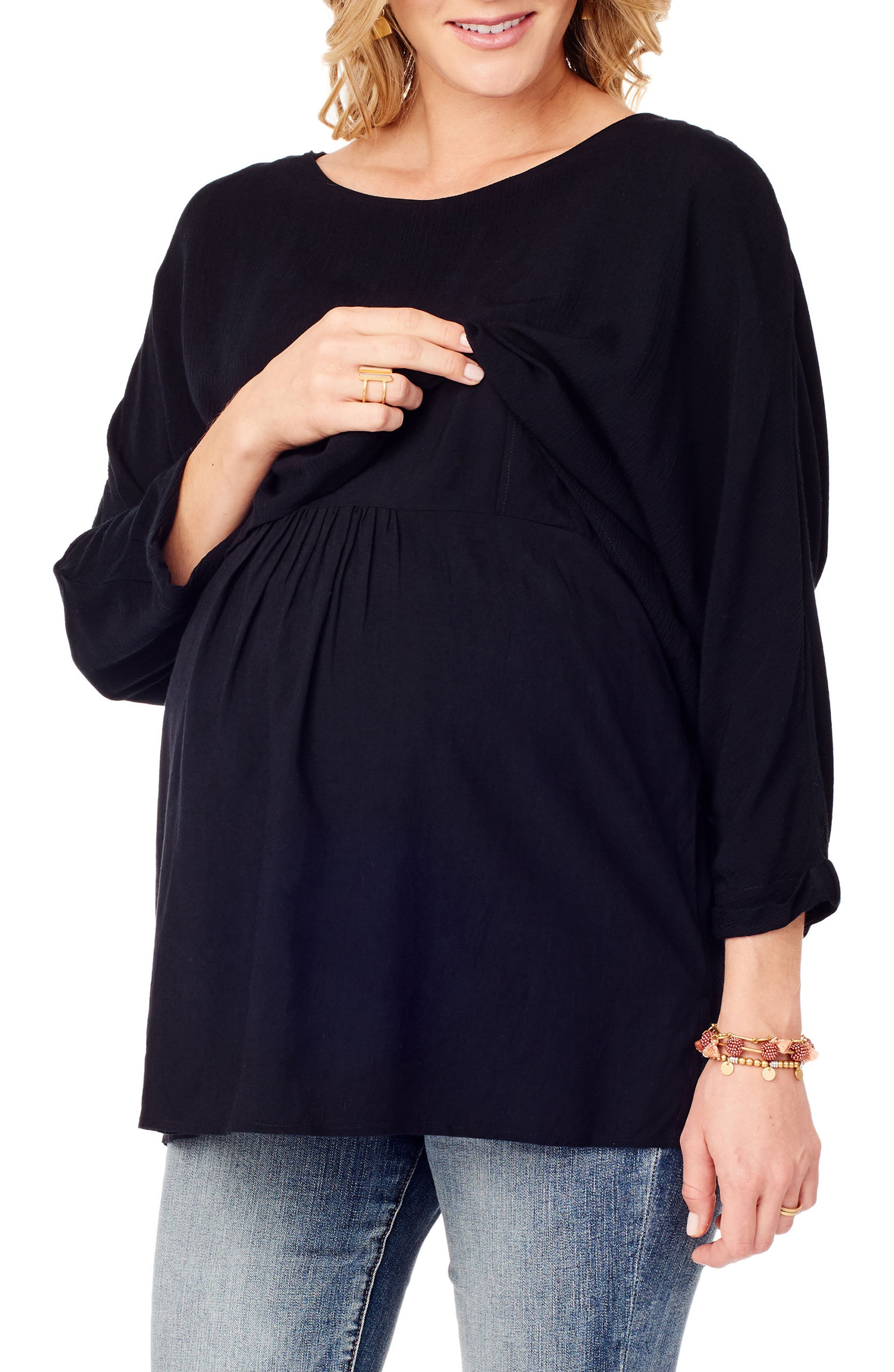 Double Layer Maternity/Nursing Top,                             Main thumbnail 1, color,                             JET BLACK